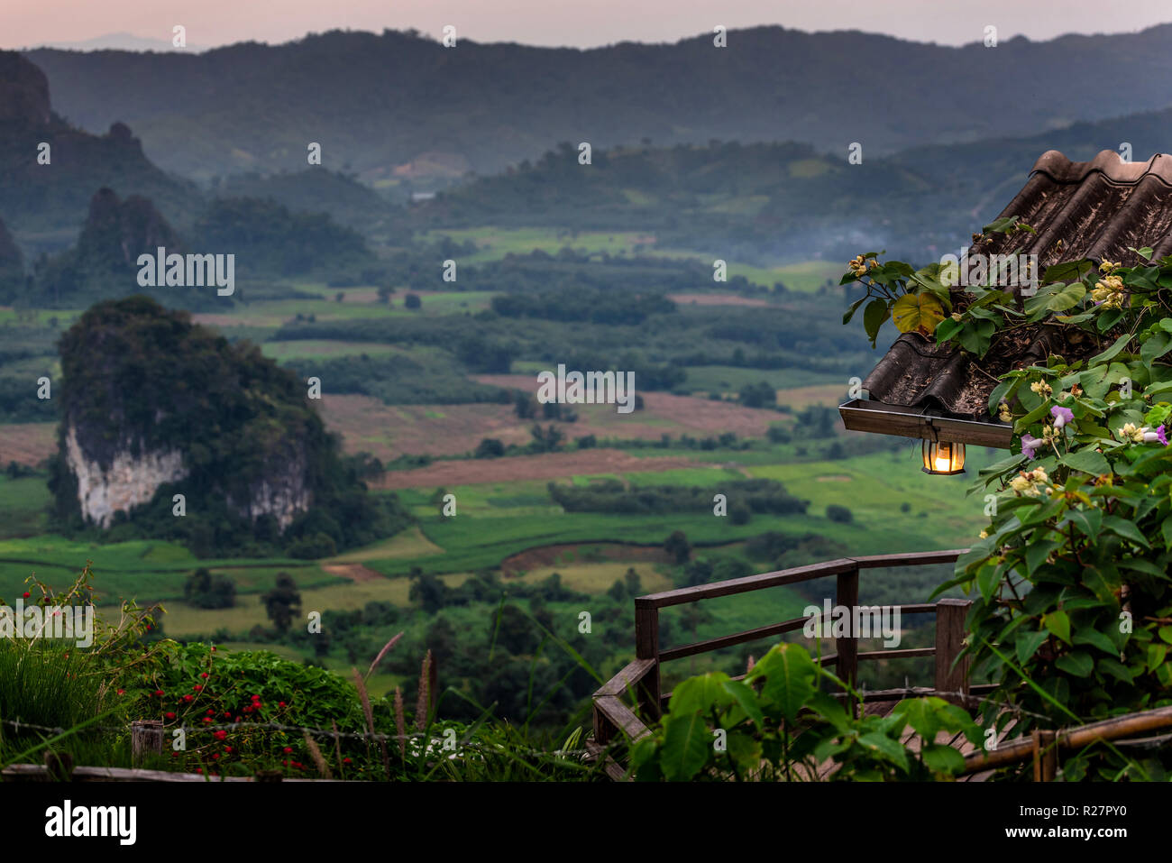 Cafe on the cliff edge. Beautiful scenery. Phu Lanka, Thailand - Stock Image