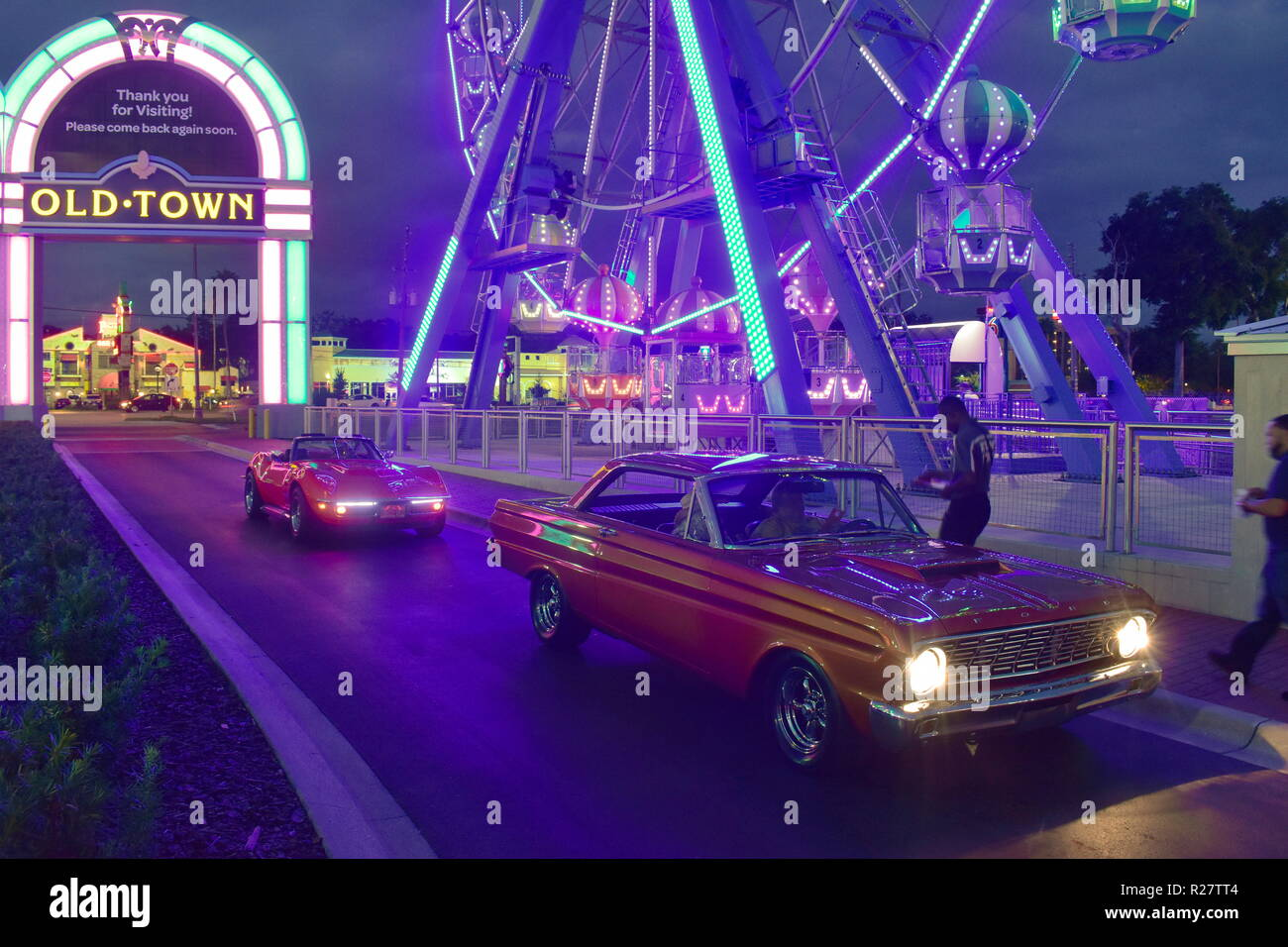 Orlando, Florida.  November 02, 2018 Nice old cars registering to enter Saturday Nite Classic Car Show and Cruise,  at Old Town Kissimme. Stock Photo