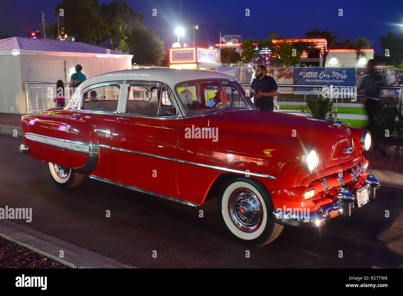 Orlando, Florida  November 02, 2018  Vintange red car in