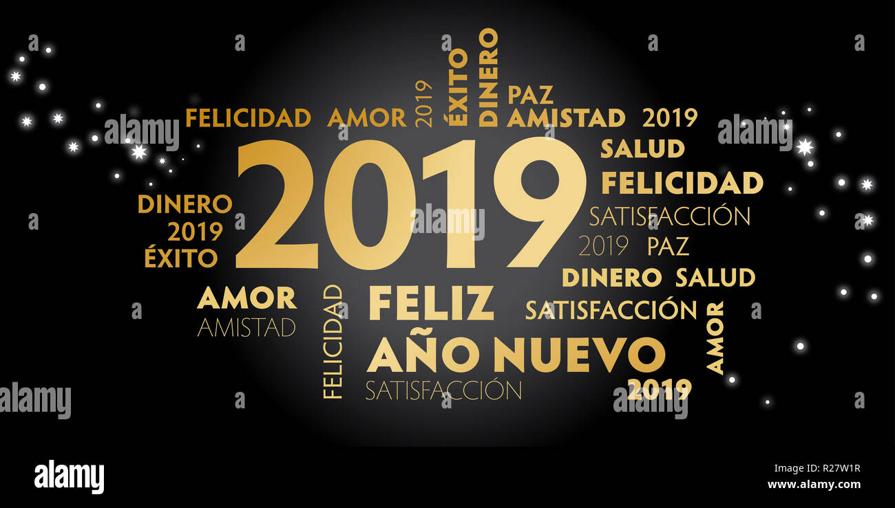 Happy New Year Spanish Language greeting card with spanish slogan 'feliz año nuevo' and good wishes for the new year. Black background and golden text - Stock Image
