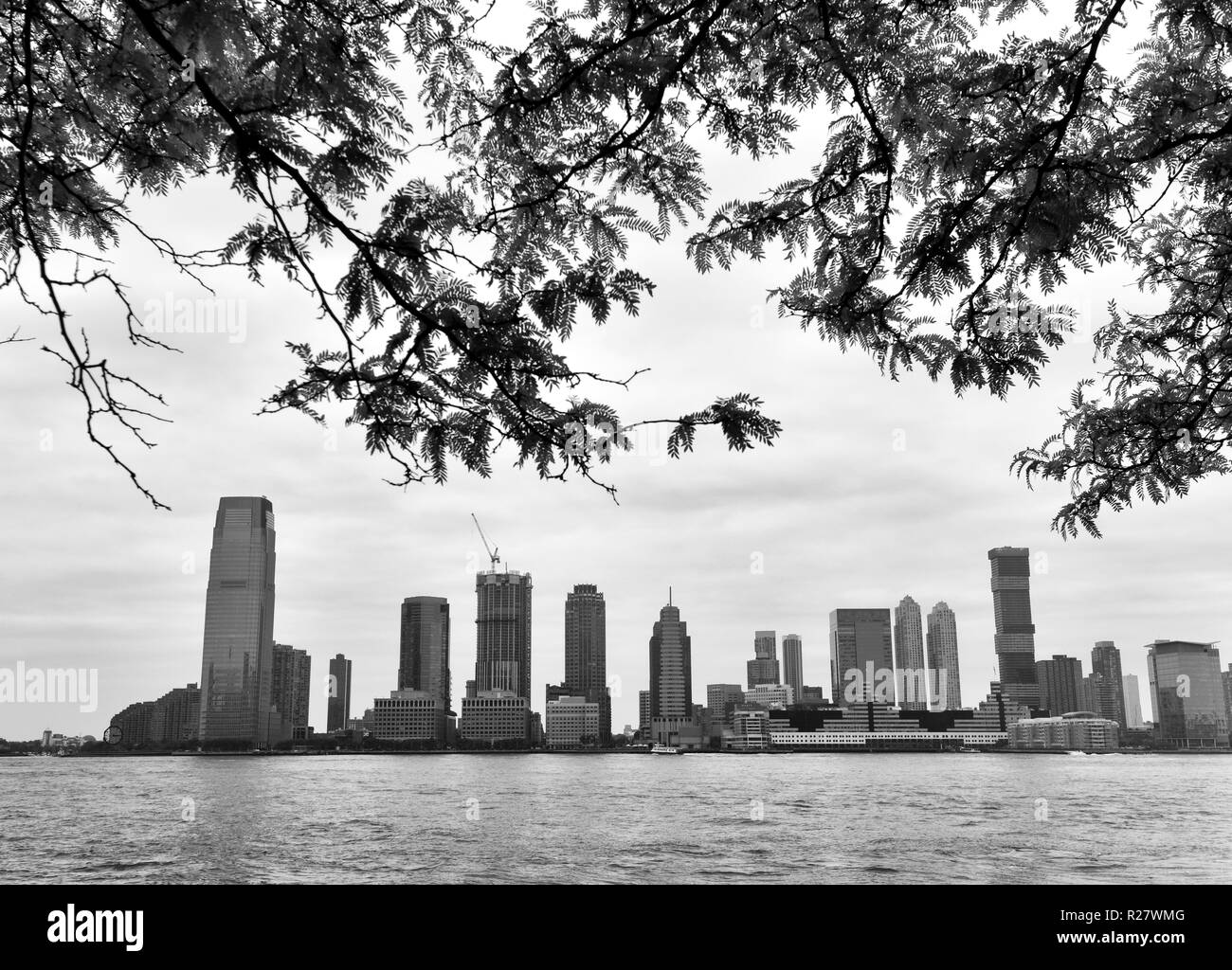 New Jersey City cityscape. Jersey City in New Jersey view on from Manhattan. Stock Photo