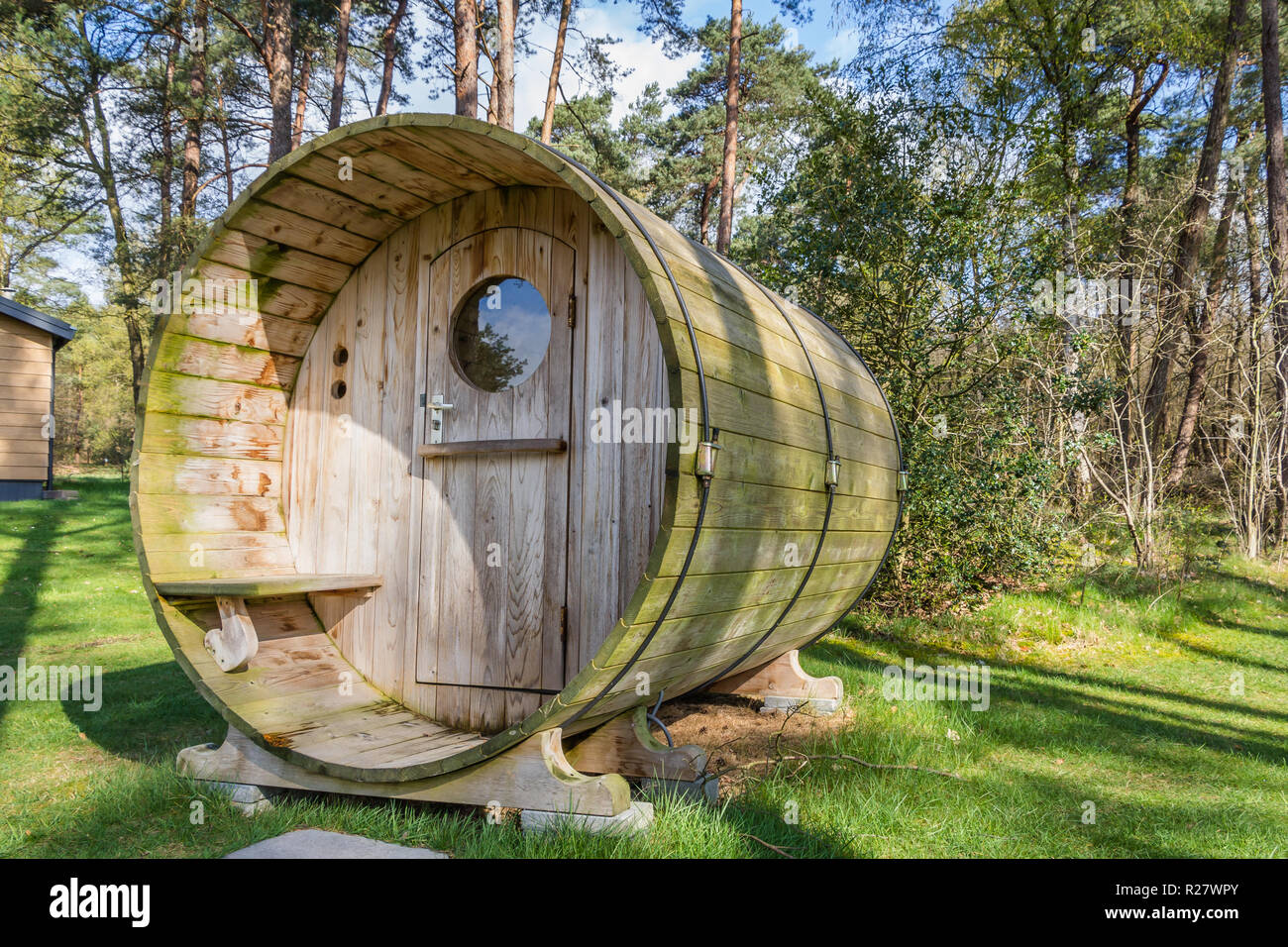 Wooden holiaday home with sauna - Stock Image