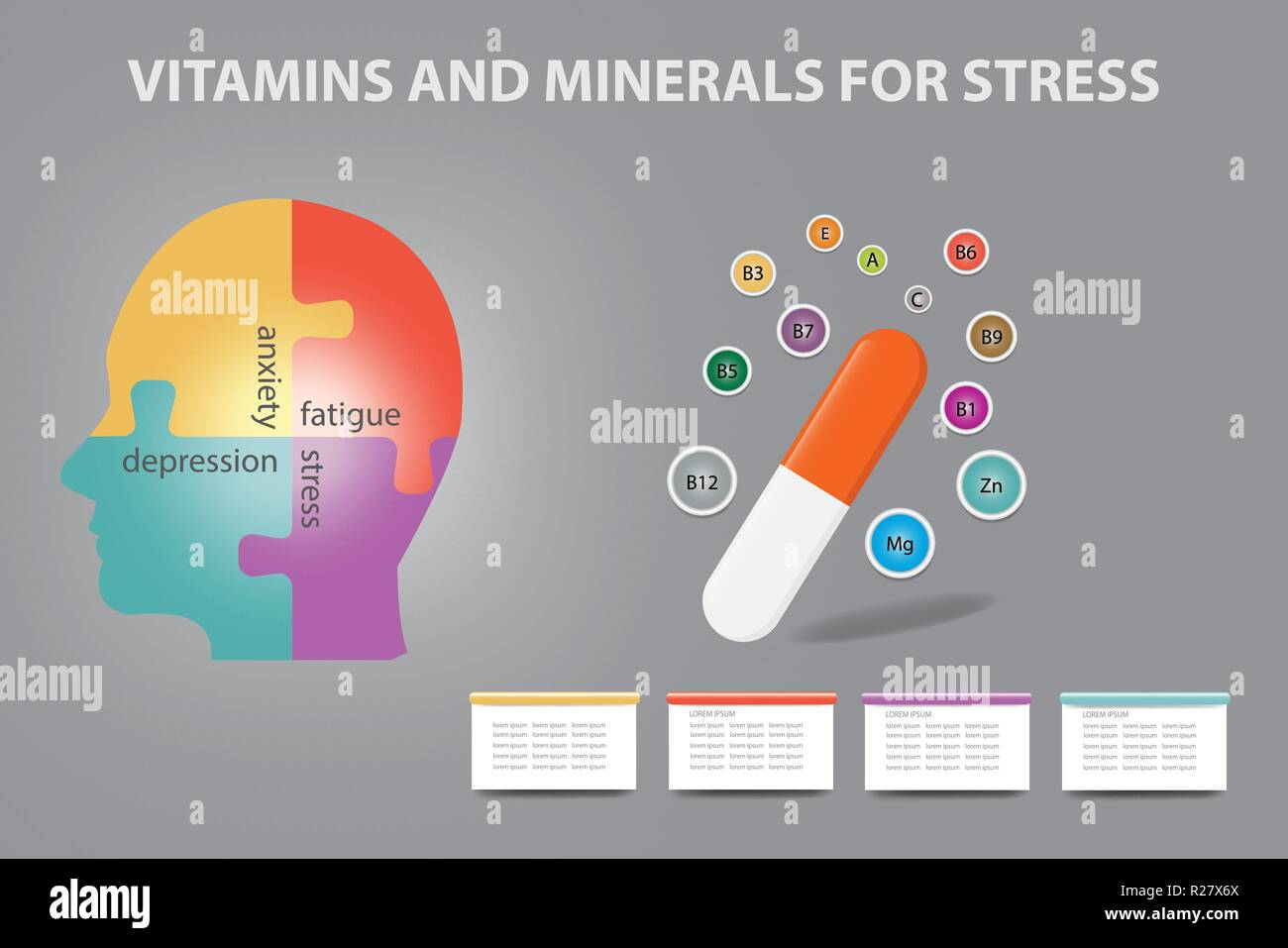 Anti stress vitamins and minerals infographic vector showing