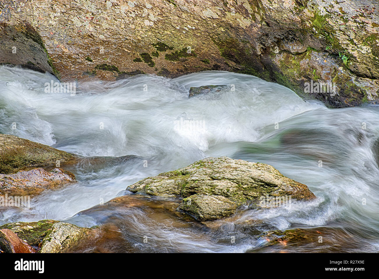 Horizontal shot of some beautiful Swirling Rushing Water in a Tennessee Mountain Stream. - Stock Image