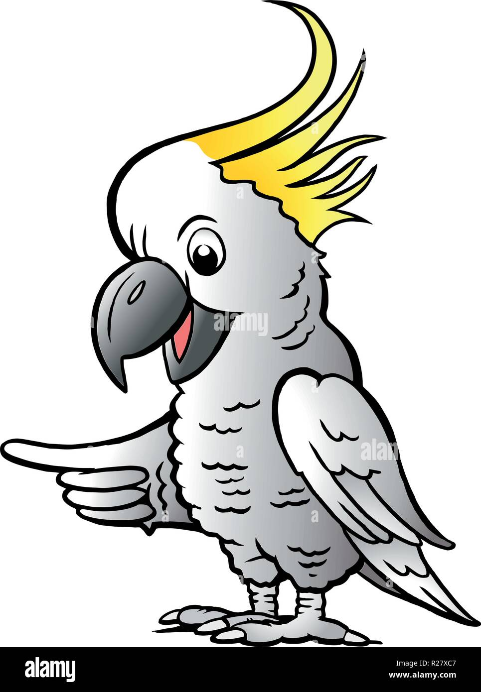 Hand-drawn Vector illustration of an Sulphur Crested Cockatoo Stock Vector