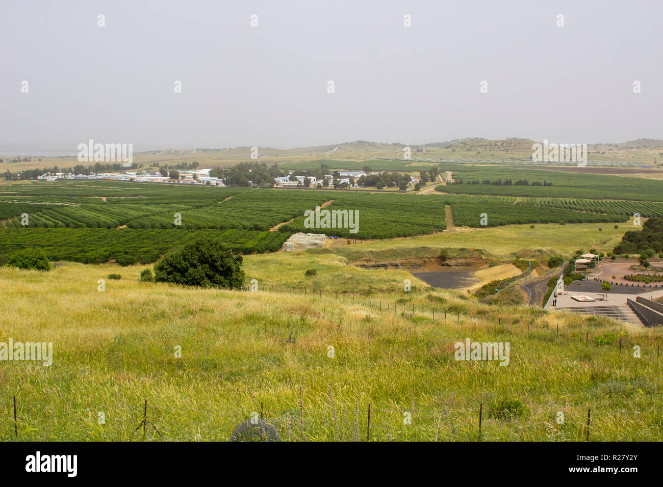4 May 2018 Syrian real estate close to the Israeli border as seen from the Northern Golan Heights in Northe East Israel - Stock Image