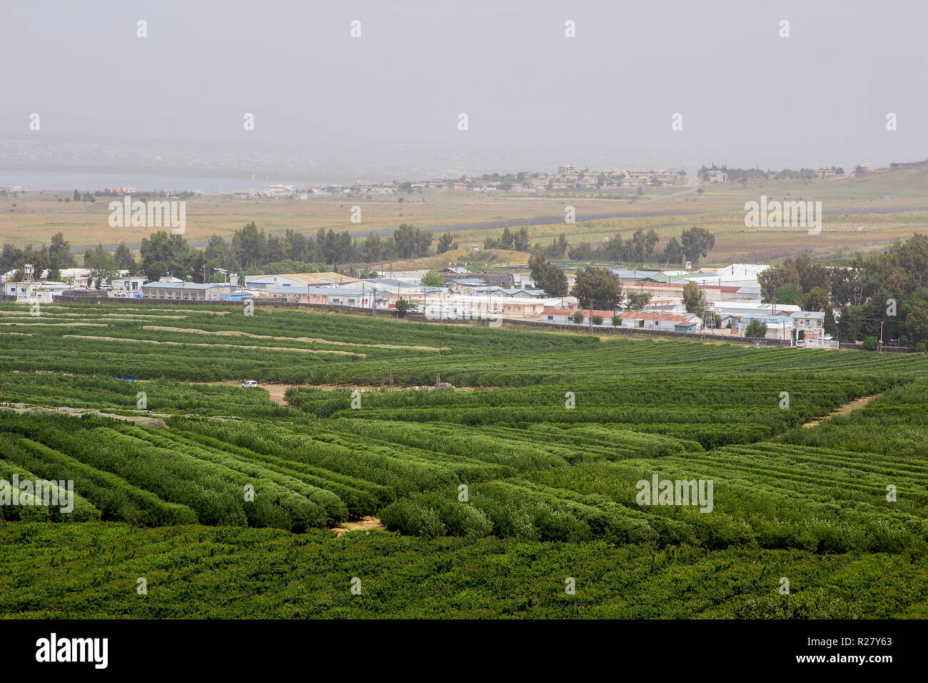 4 May 2018 The UN military base Camp Faouar in Syria close to the Israeli border as seen from the Northern Golan Heights in North East Israel - Stock Image