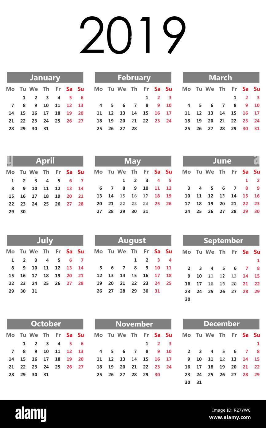 Calendario Vector Blanco.Calendar 2019 Vector Illustration Flat Design Isolated On