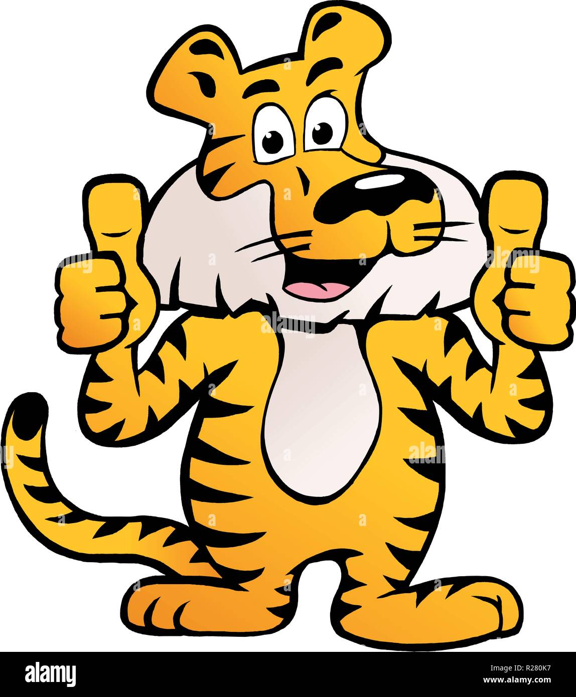 Hand-drawn Vector illustration of an Happy And Proud Siberian Tiger  giving two thumb up - Stock Vector