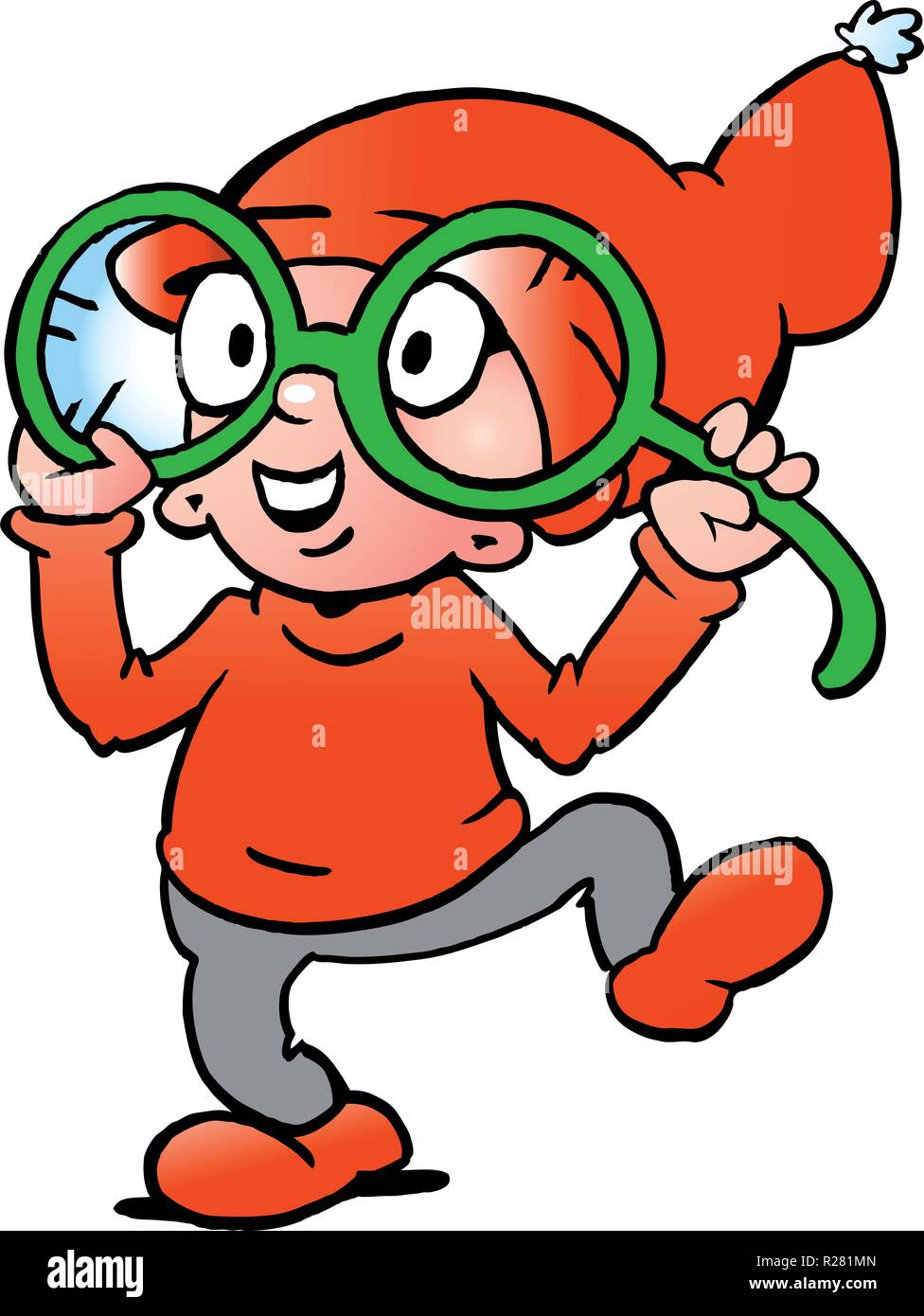Hand-drawn Vector illustration of an Happy Christmas Elf  with big green glasses - Stock Vector