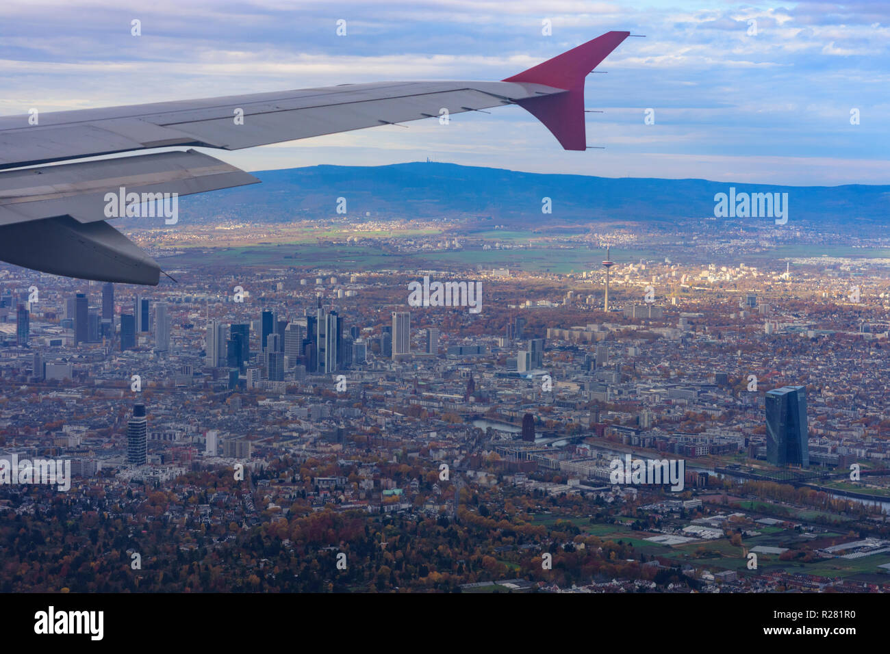 Frankfurt am Main: Frankfurt am Main and Taunus Mountains  from aircraft, airial view in , Hessen, Hesse, Germany - Stock Image