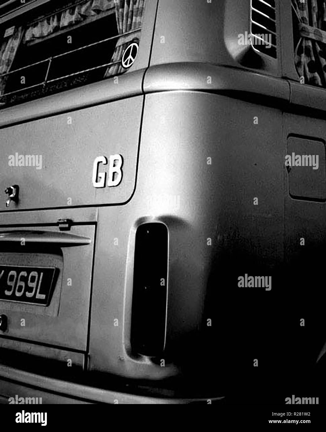 "A black and white abstract image of an iconic ""Dub"" camper van. Stock Photo"