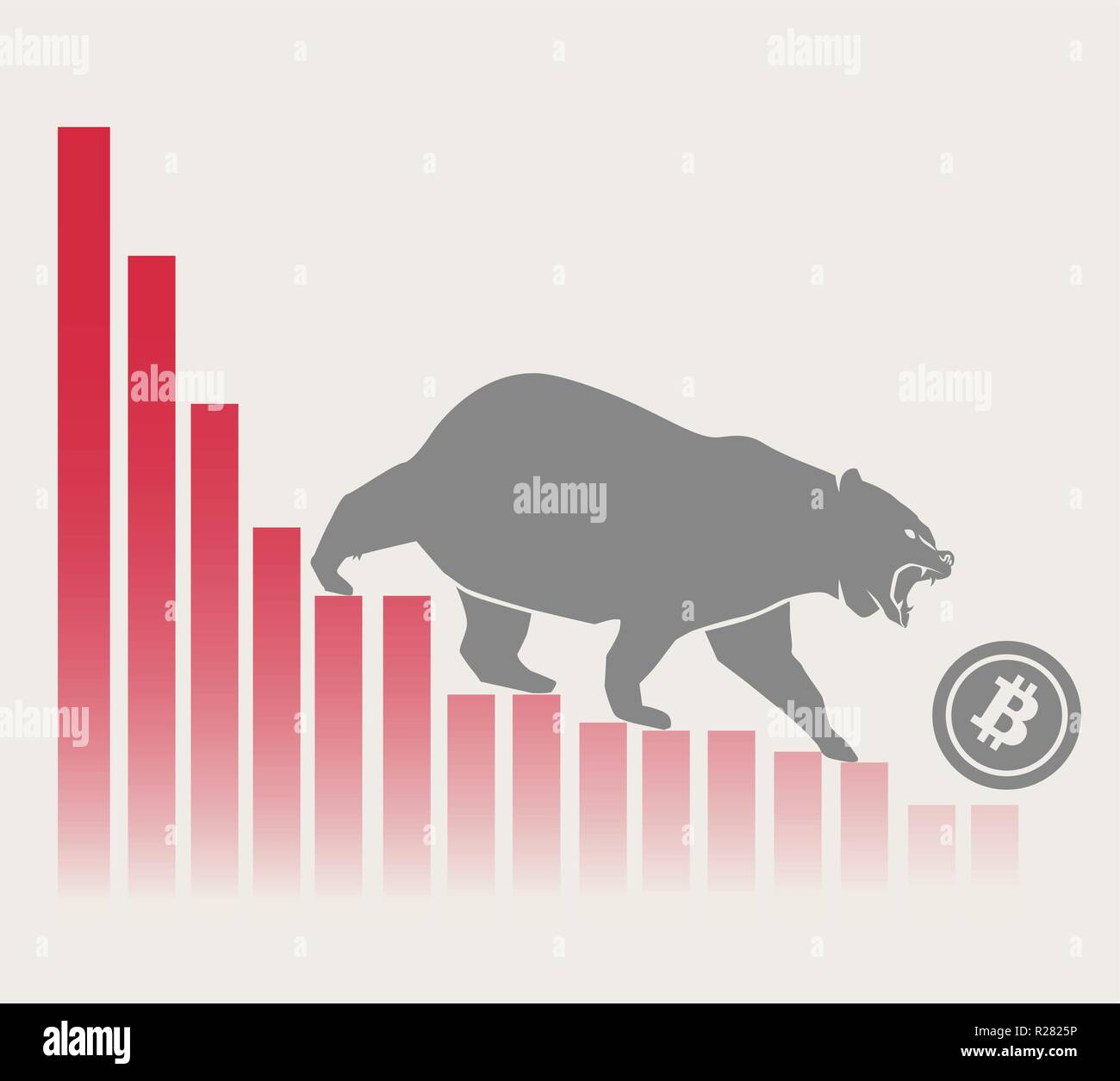 Bear moves Bitcoin down on graph, negative cryptocurrency market, grey background Stock Vector