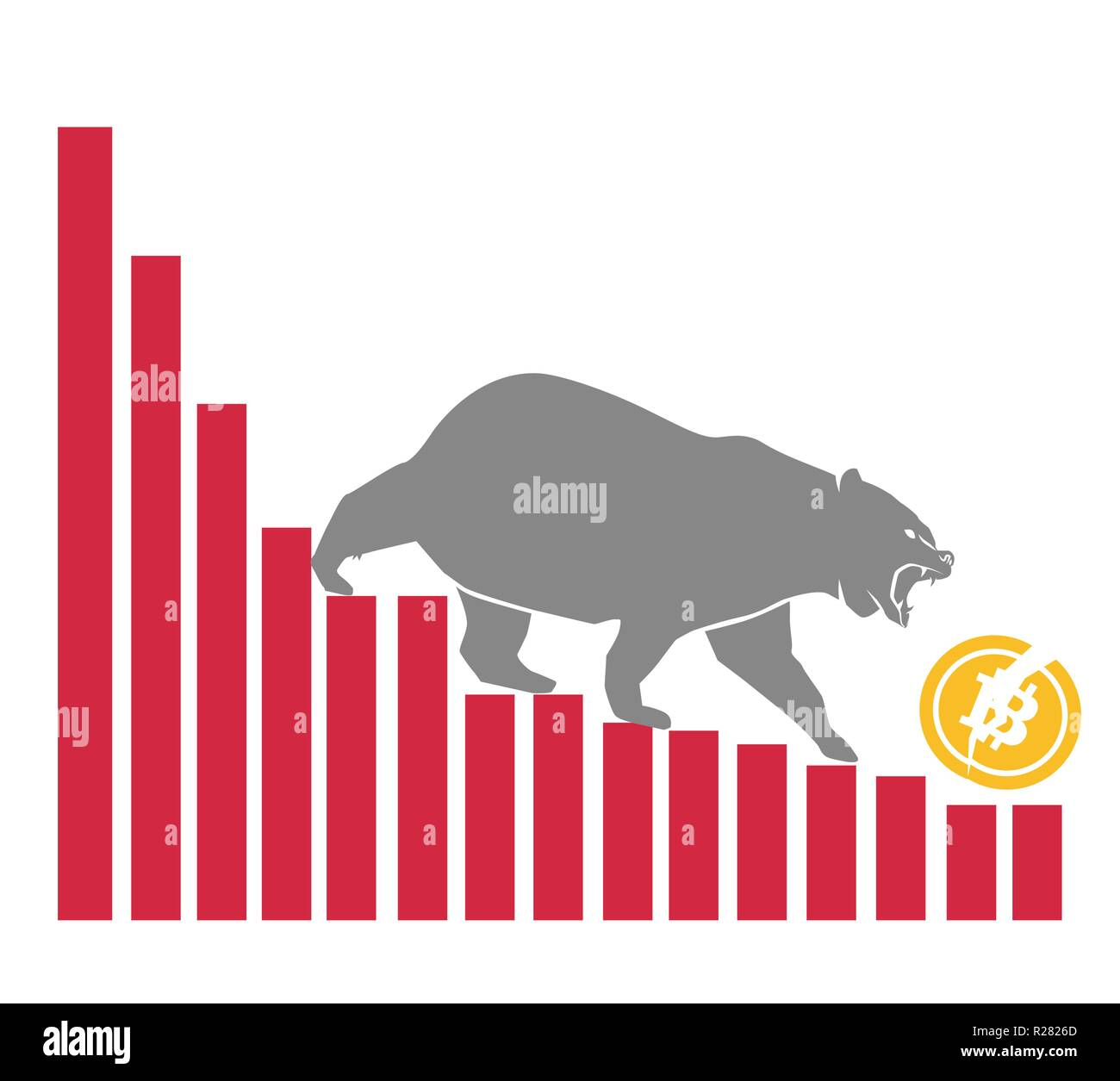 Bear moves Bitcoin down on graph, negative cryptocurrency market, white background Stock Vector