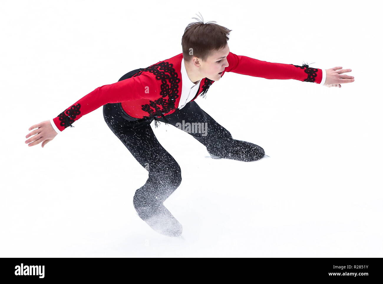 Moscow, Russia. 17th November 2018. MOSCOW, RUSSIA - NOVEMBER 17, 2018: Mikhail Kolyada of Russia performs his men's free skating programme at the 2018/19 ISU Grand Prix of Figure Skating Rostelecom Cup at Megasport Arena. Valery Sharifulin/TASS Credit: ITAR-TASS News Agency/Alamy Live News - Stock Image