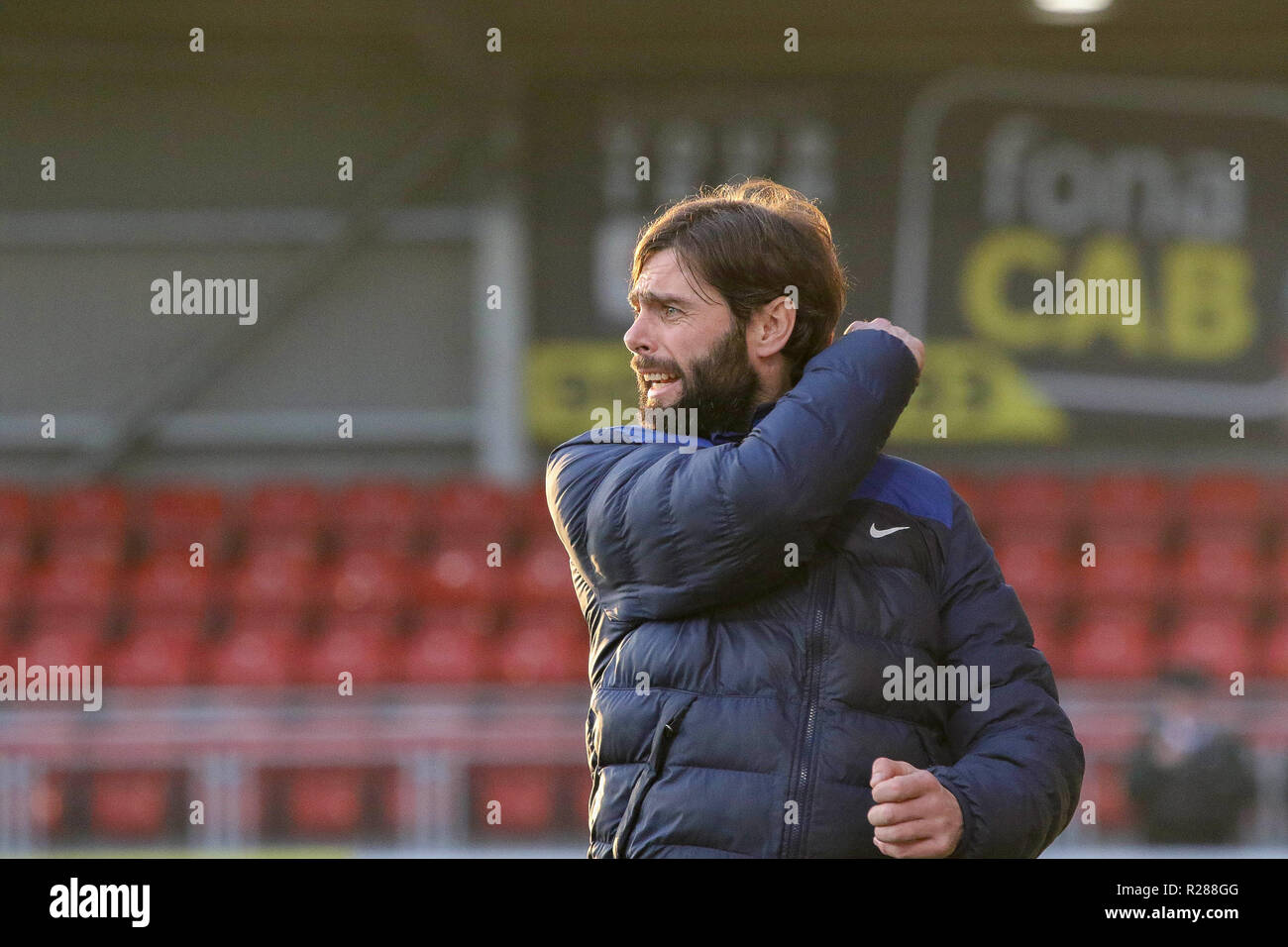 Seaview, Belfast, Northern Ireland. 17 November 2018. Danske Bank Premiership - Crusaders (red/black) v Glenavon (blue). Action from today's game at Seaview. Unhappy - Glenavon boss Gary Hamilton. Credit: CAZIMB/Alamy Live News. - Stock Image