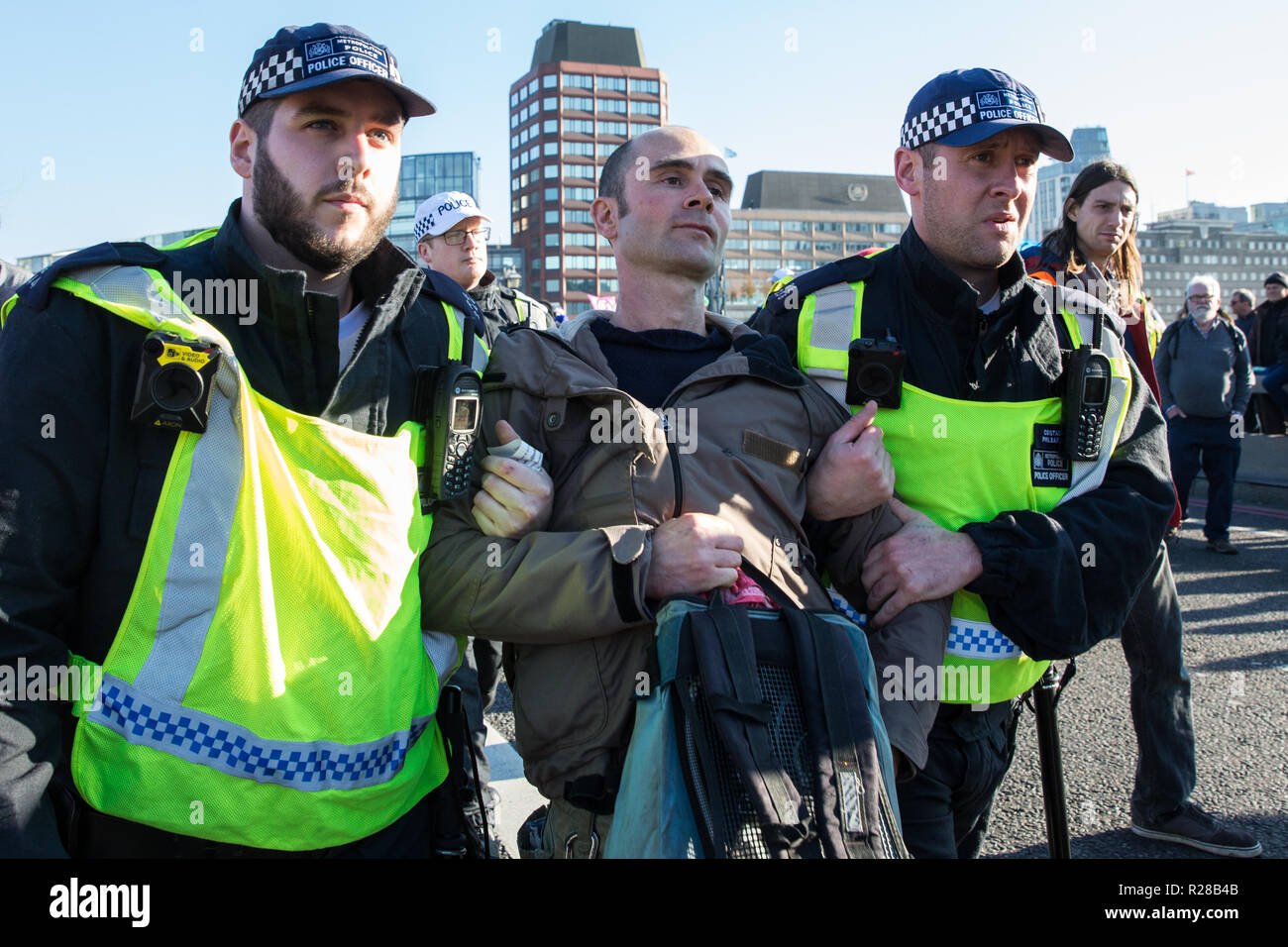London, UK. 17th November, 2018. Police officers arrest a man after environmental campaigners from Extinction Rebellion blocked Lambeth Bridge, one of five bridges blocked in central London, as part of a Rebellion Day event to highlight 'criminal inaction in the face of climate change catastrophe and ecological collapse' by the UK Government as part of a programme of civil disobedience during which scores of campaigners have been arrested. Credit: Mark Kerrison/Alamy Live News Stock Photo