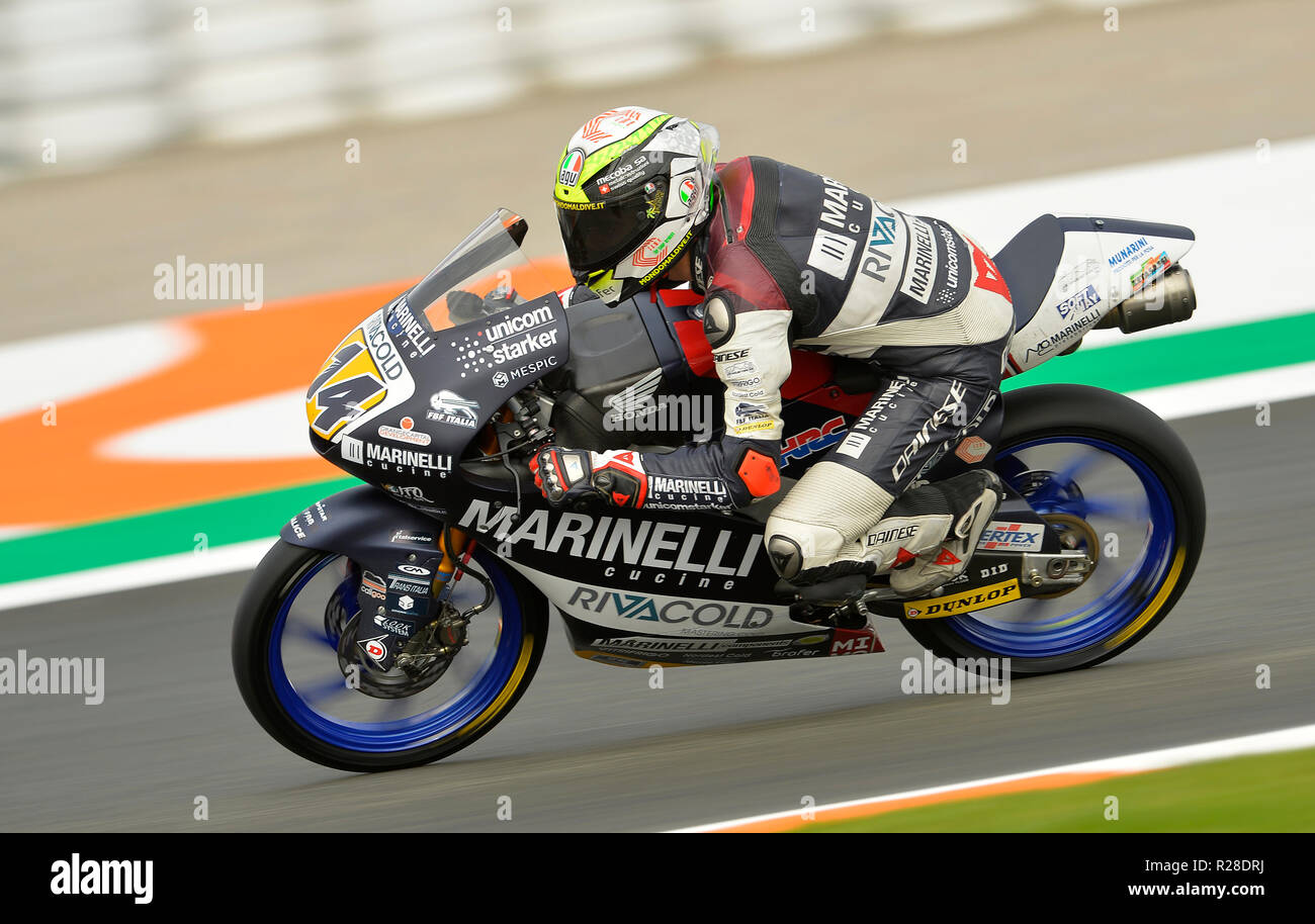 Cheste, Spain.17th November 2018. Tony Arbolino moto 3 rider of Marinelli  Snipers Team,win the pole position Credit: rosdemora/Alamy Live News Stock  Photo - Alamy