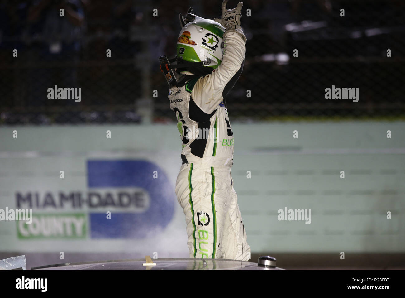 Homestead, Florida, USA. 17th Nov, 2018. Tyler Reddick (9) takes the checkered flag and wins the 2018 NASCAR Xfinity Championship following the Ford 300 at Homestead-Miami Speedway in Homestead, Florida. (Credit Image: © Justin R. Noe Asp Inc/ASP) Credit: ZUMA Press, Inc./Alamy Live News - Stock Image