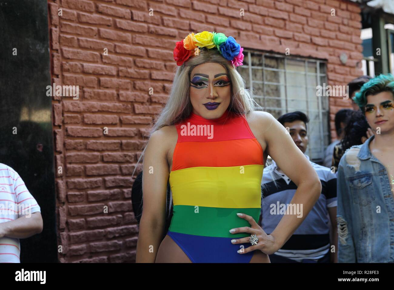 Ciudad De Buenos Aires, Argentina. 17th Nov, 2018. A youngster poses during the LGTBI  Pride march, in Buenos Aires, Argentina, 17 November 2018. Credit: Marina Guillen/EFE/Alamy Live News - Stock Image