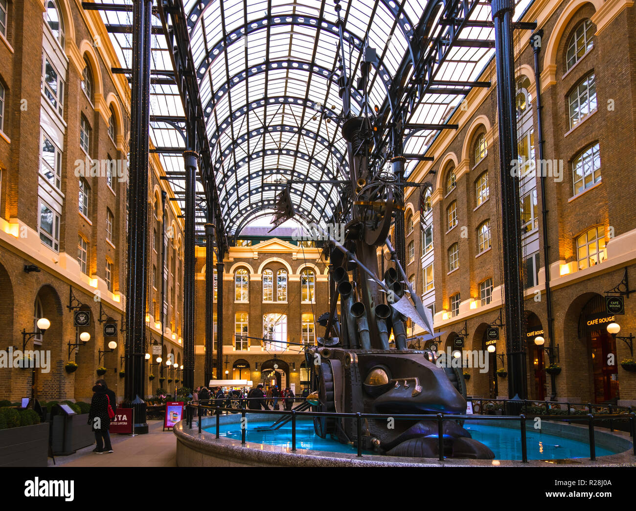 LONDON, UK - March 20 2018: Wide view of Hay's Galleria, which was originally a warehouse known as Hay's Wharf, then was redeveloped as mixed use reta - Stock Image