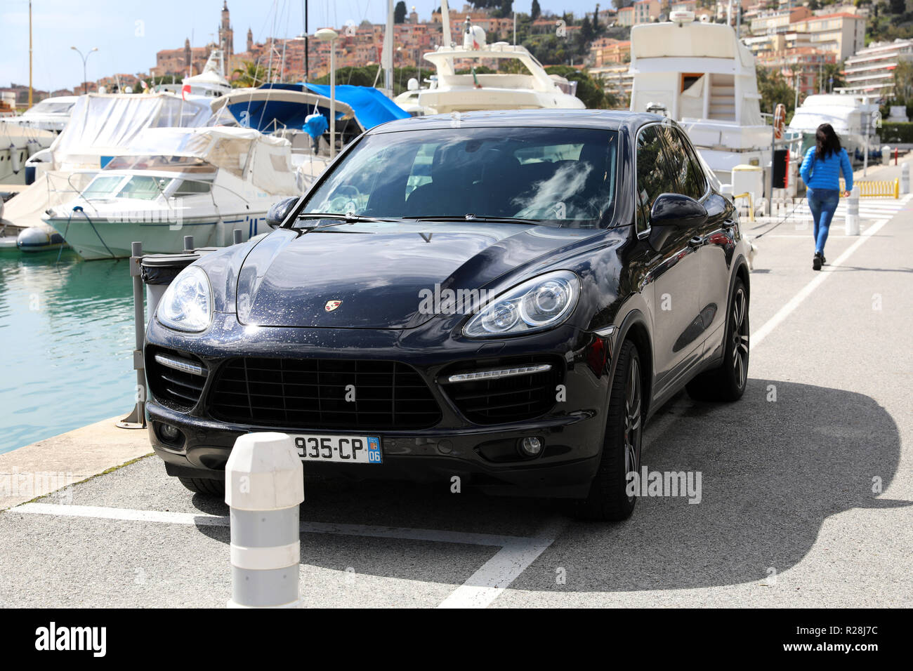 Menton France March 31 2018 Luxury Porsche Cayenne Turbo Suv Front View Parked On The Port Of Menton Garavan French Riviera Europe Stock Photo Alamy