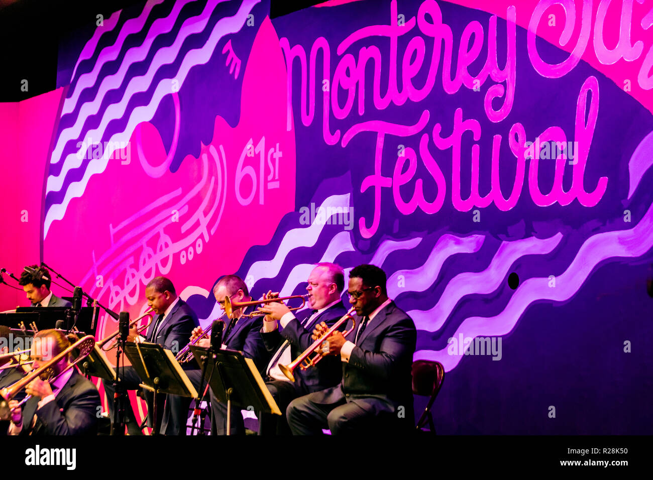 JAZZ AT LINCOLN CENTER ORCHESTRA with WYNTON MARSALIS at the 61st MONTEREY JAZZ FESTIVAL - MONTEREY, CALIFORNIA - Stock Image