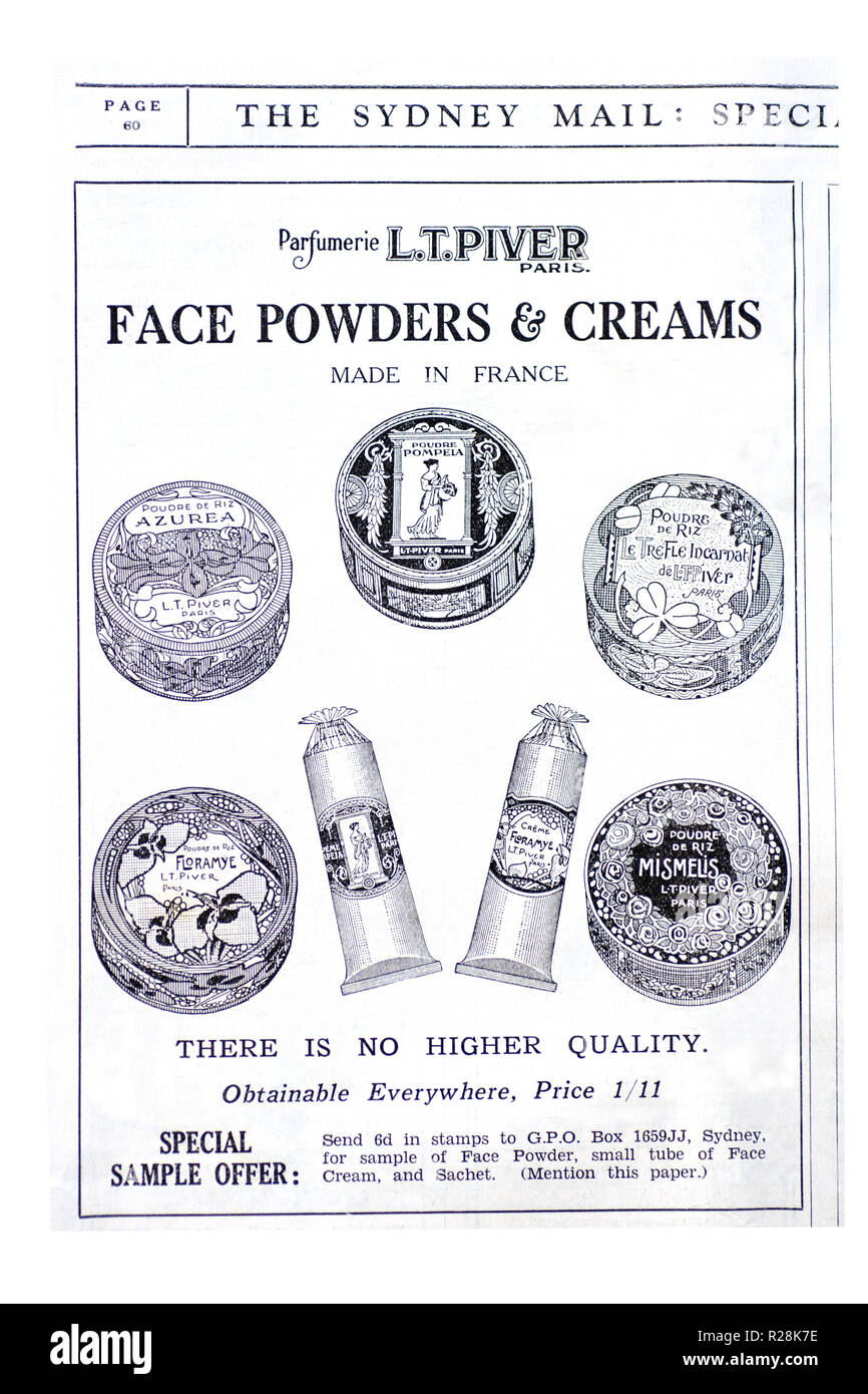 L T Piver advertisement for face creams and powders.1932 The Sydney Mail newspaper. - Stock Image