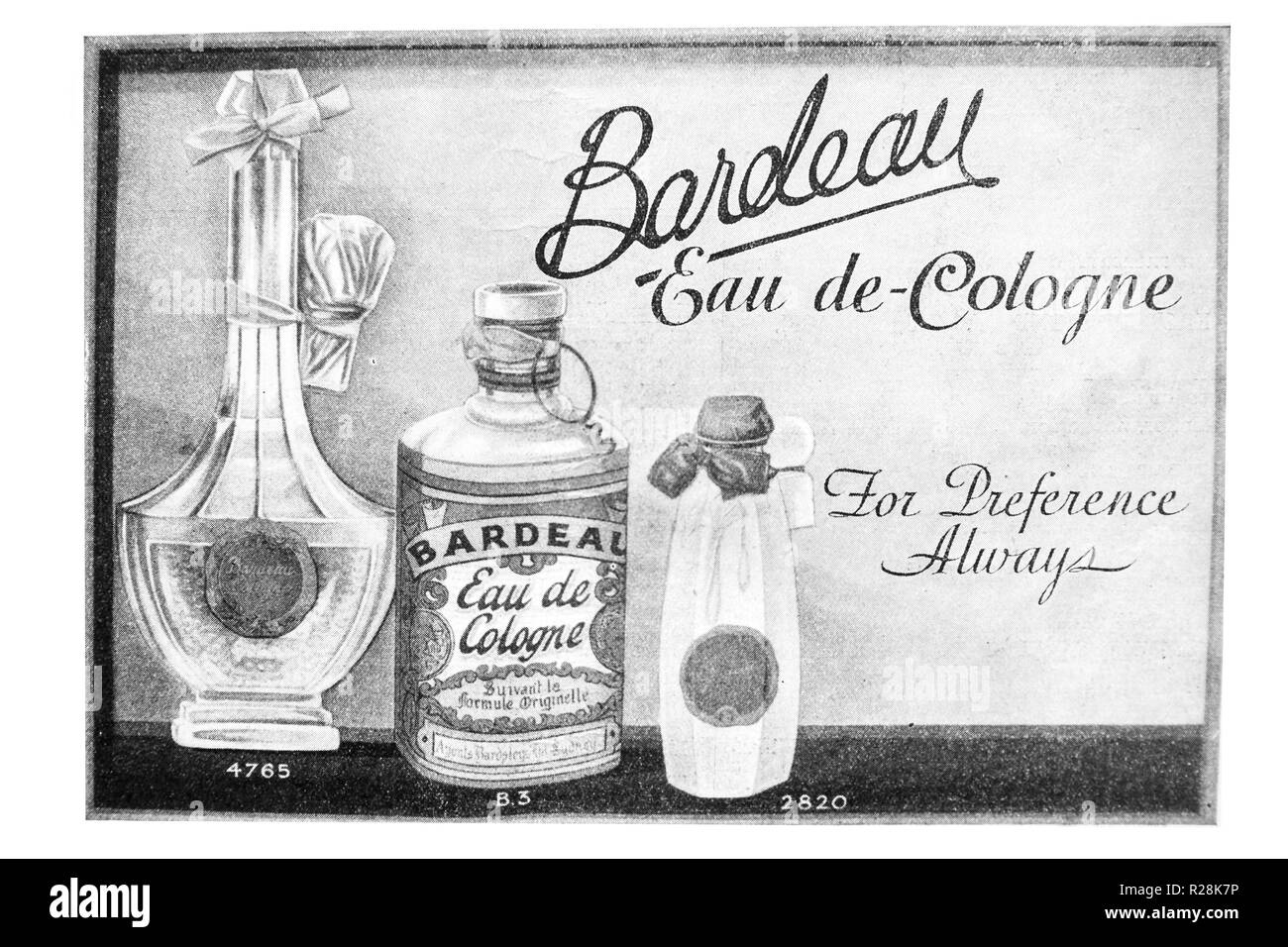 Three bottles of Bardeau Eau de Cologne advertisement in 1932 'The Sydney Mail' newspaper. - Stock Image