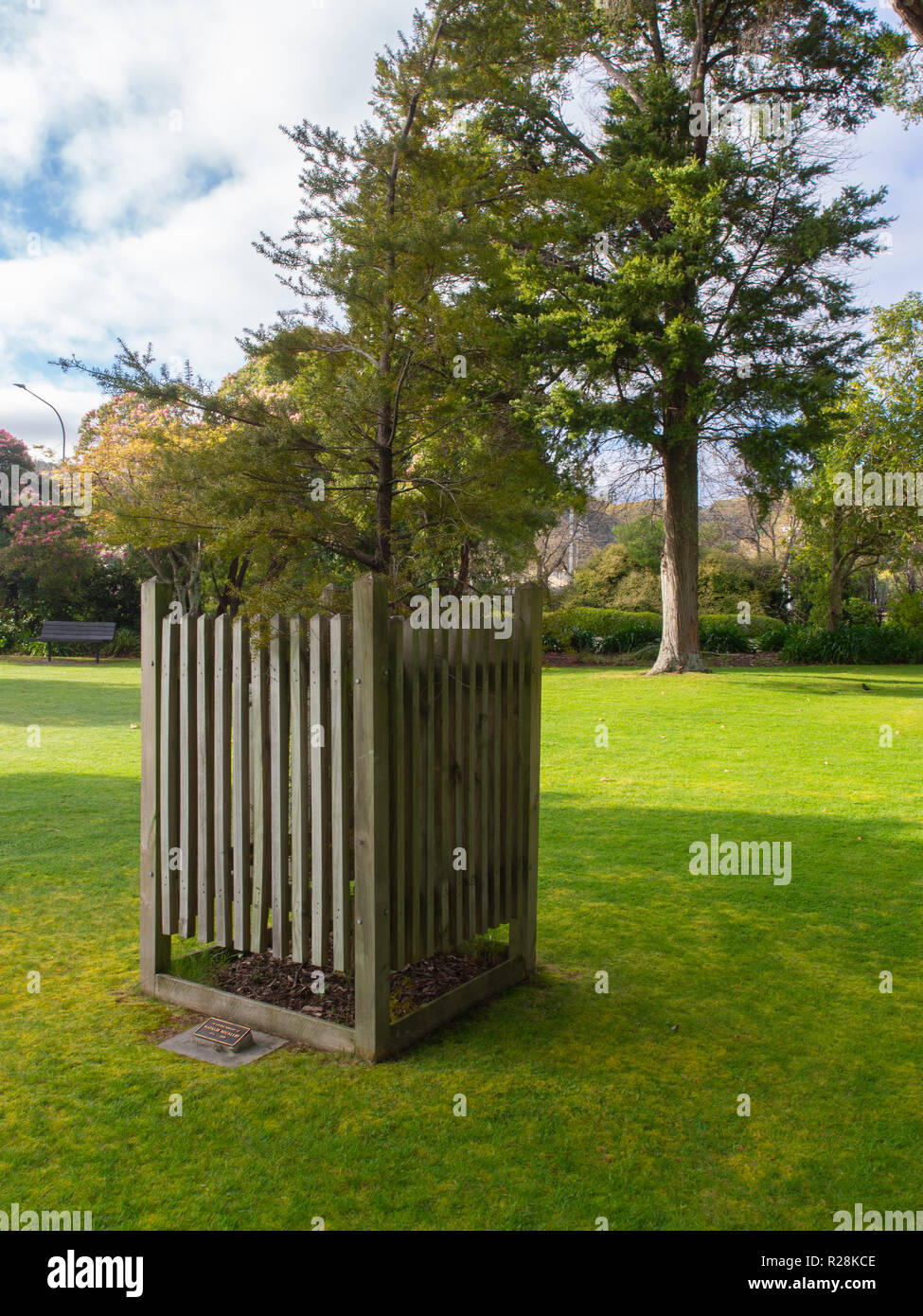 Trees And Green Grass In A Public Space In Upper Hutt - Stock Image
