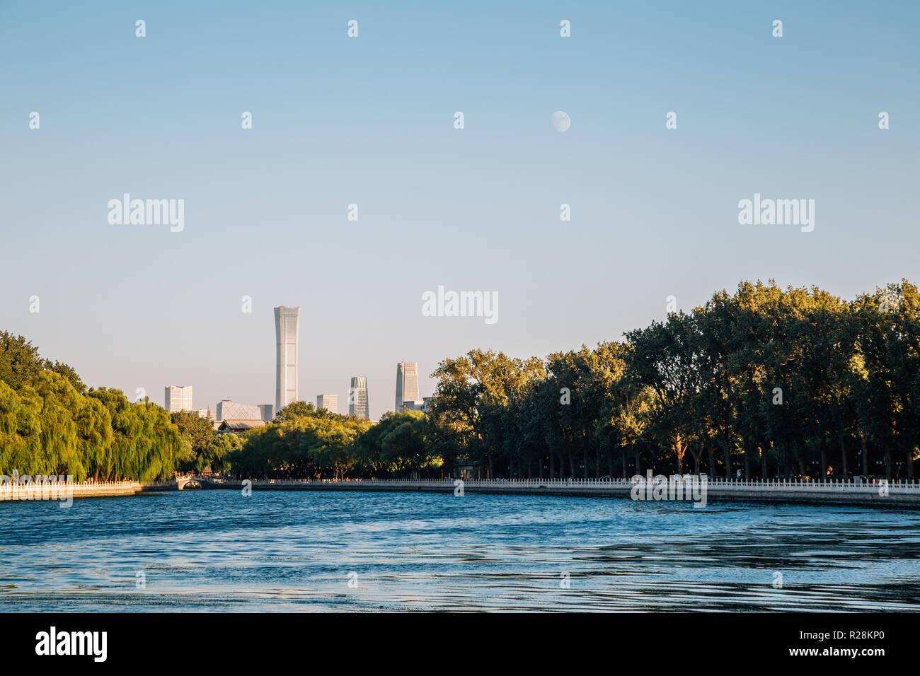 Shichahai Houhai lake at evening in Beijing, China Stock Photo