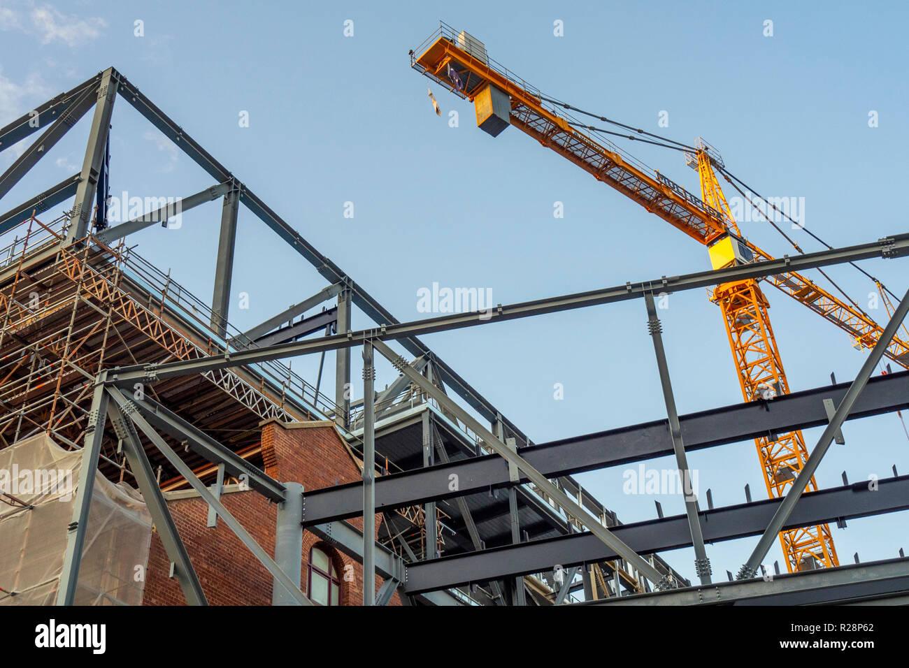 Steel girders and crane at construction site of new Western Australian Museum Perth WA Australia. Stock Photo