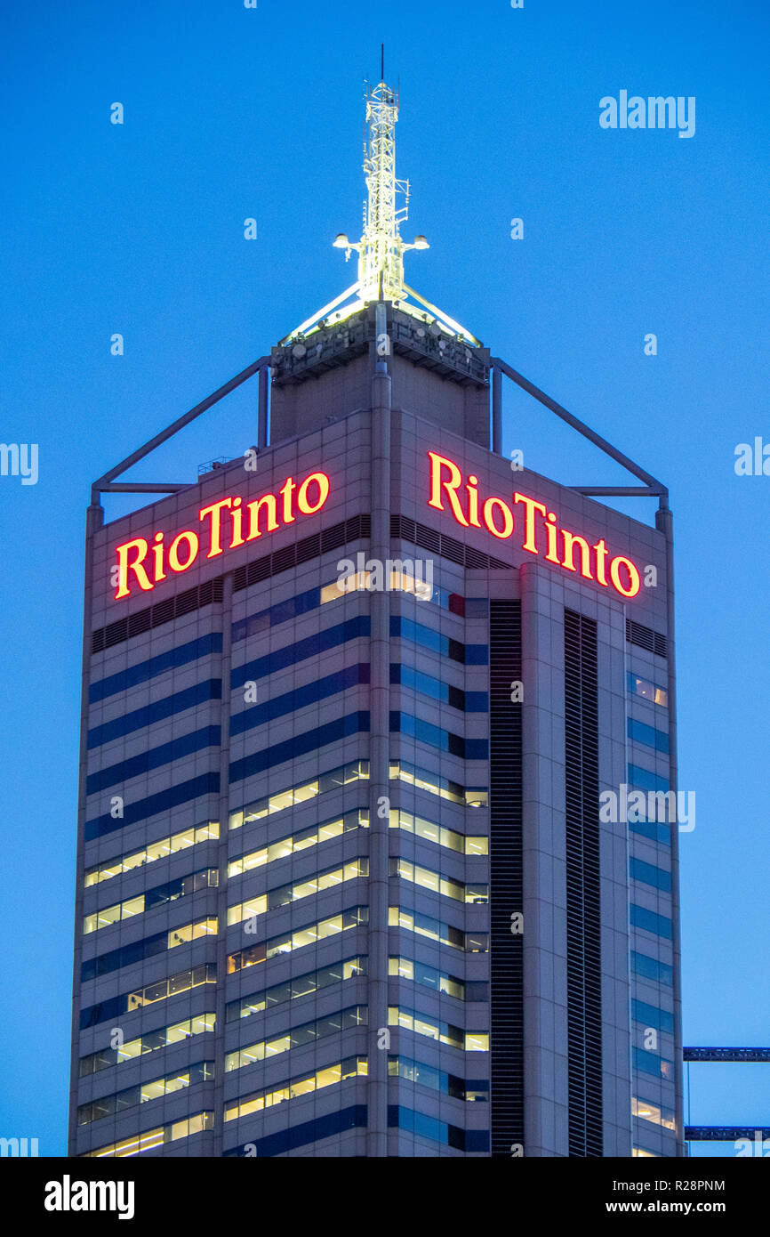 Central Park Office Tower which houses the offices of Multinational mining company Rio Tinto in Perth Western Australia. - Stock Image