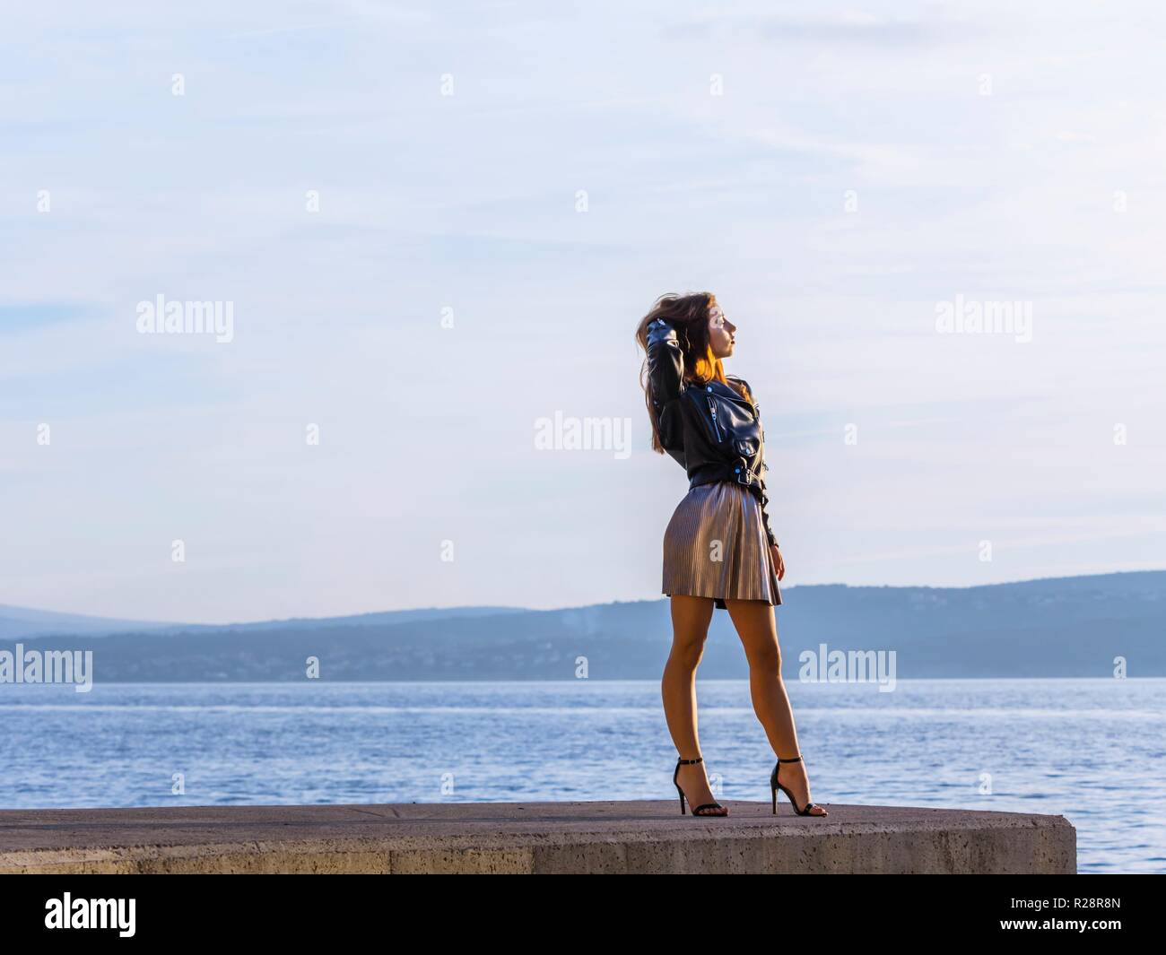 Teen girl self empowerment confident upright lady ladylike - Stock Image