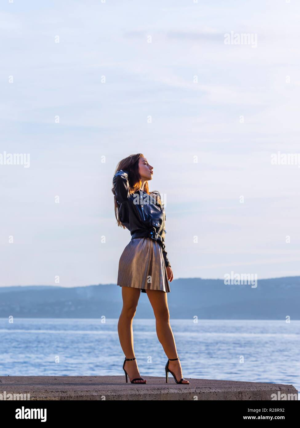Teen girl self empowerment confident upright young lady ladylike - Stock Image