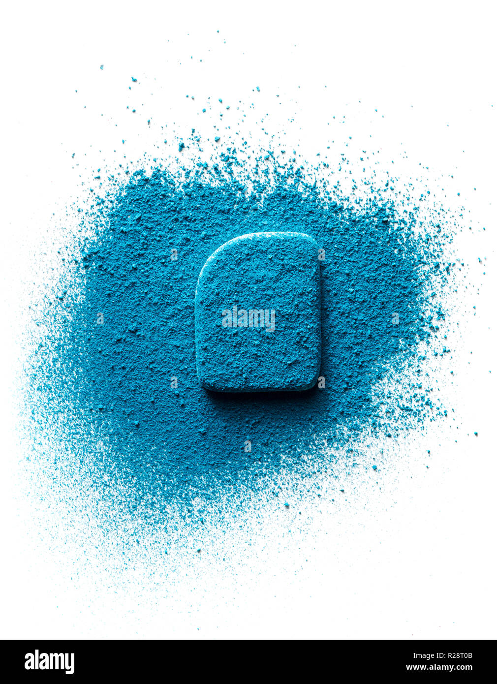 Cosmetic sponge dusted with blue eyeshadow. Isolated on white background. Cosmetic concept - Stock Image