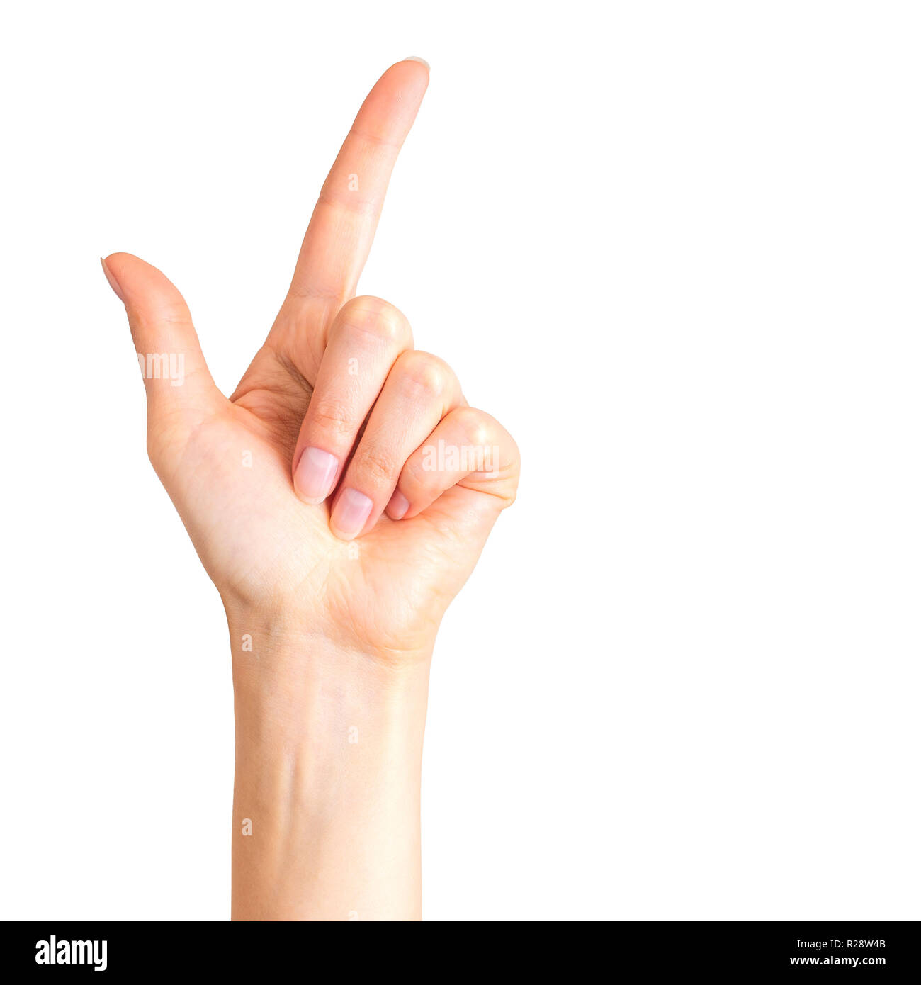 Woman hand with the index finger pointing up or showing loser gesture - Stock Image