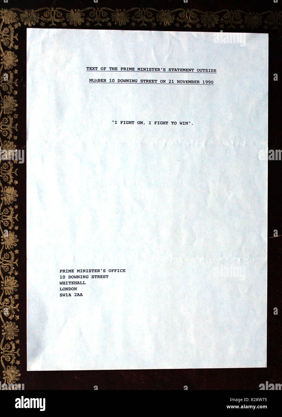 Original press releases relating to the resignation of the, then, Prime Minister, Margaret Thatcher, are seen in studio photographs taken in London - Stock Image
