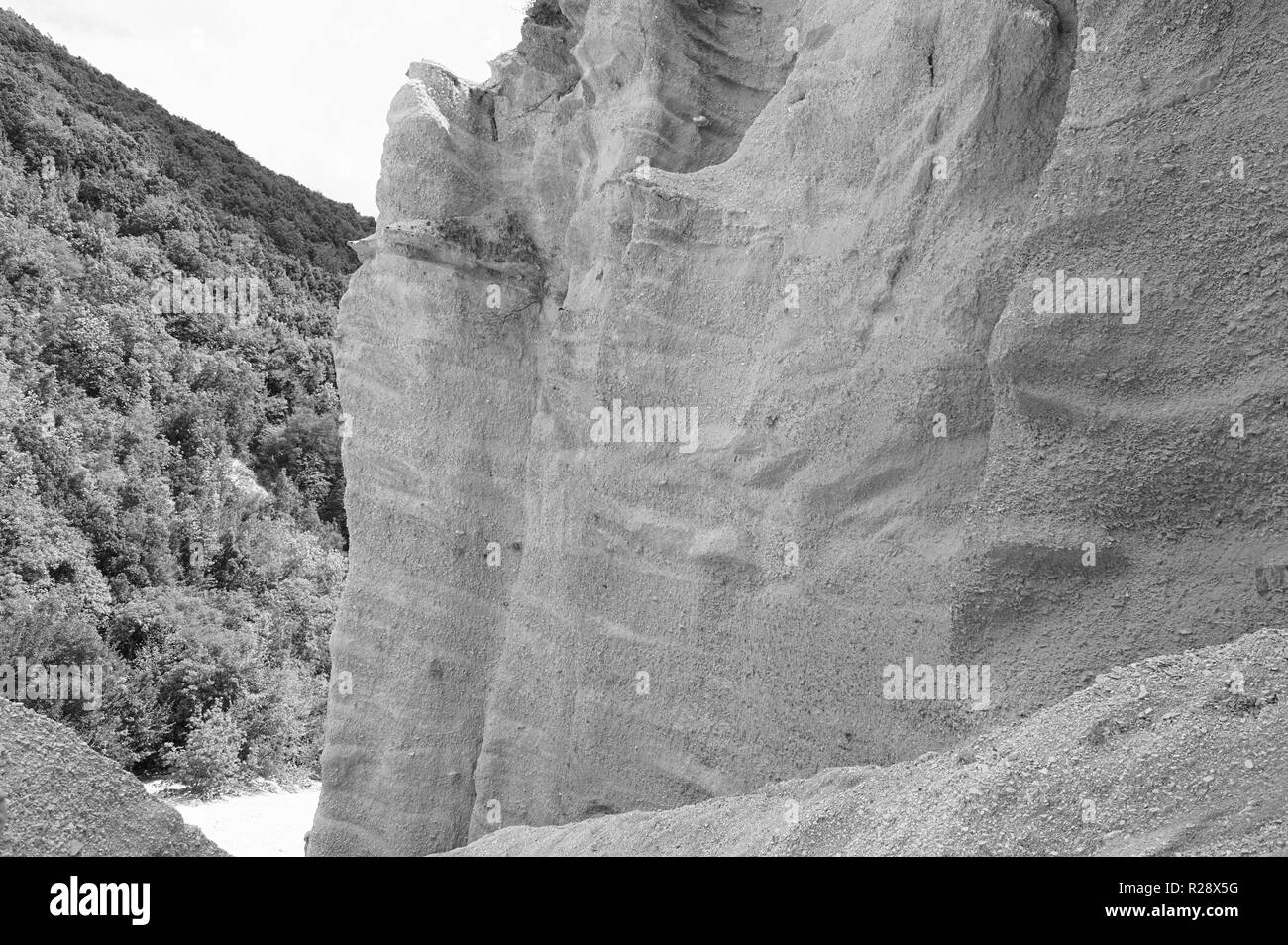 Geological formation in the center of Italy - Lame Rosse canyon (Marche, Italy, Europe) Stock Photo