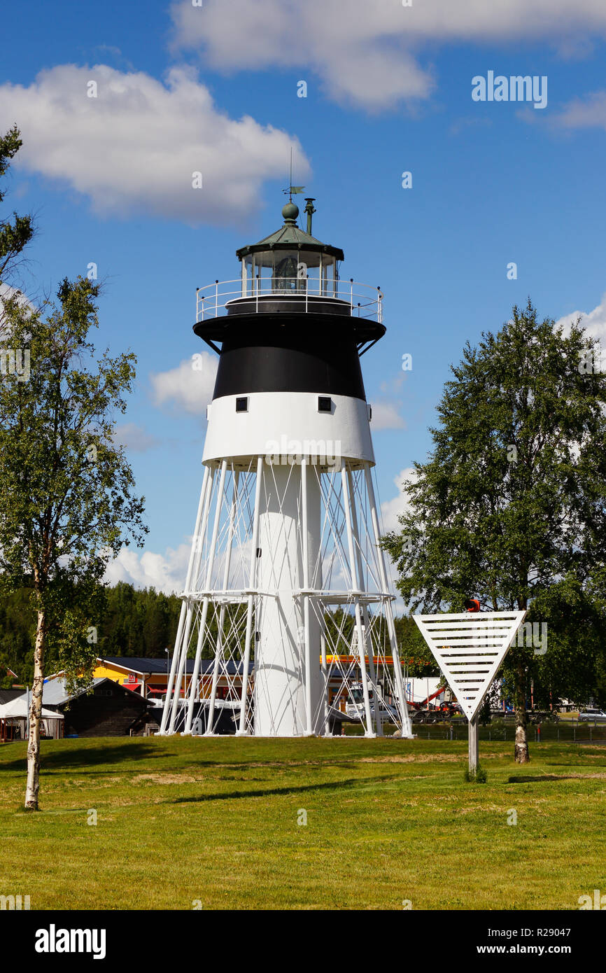 Javre, Sweden - June 21, 2018: Exterior view of the blac and white lighthouse at Javre. Stock Photo