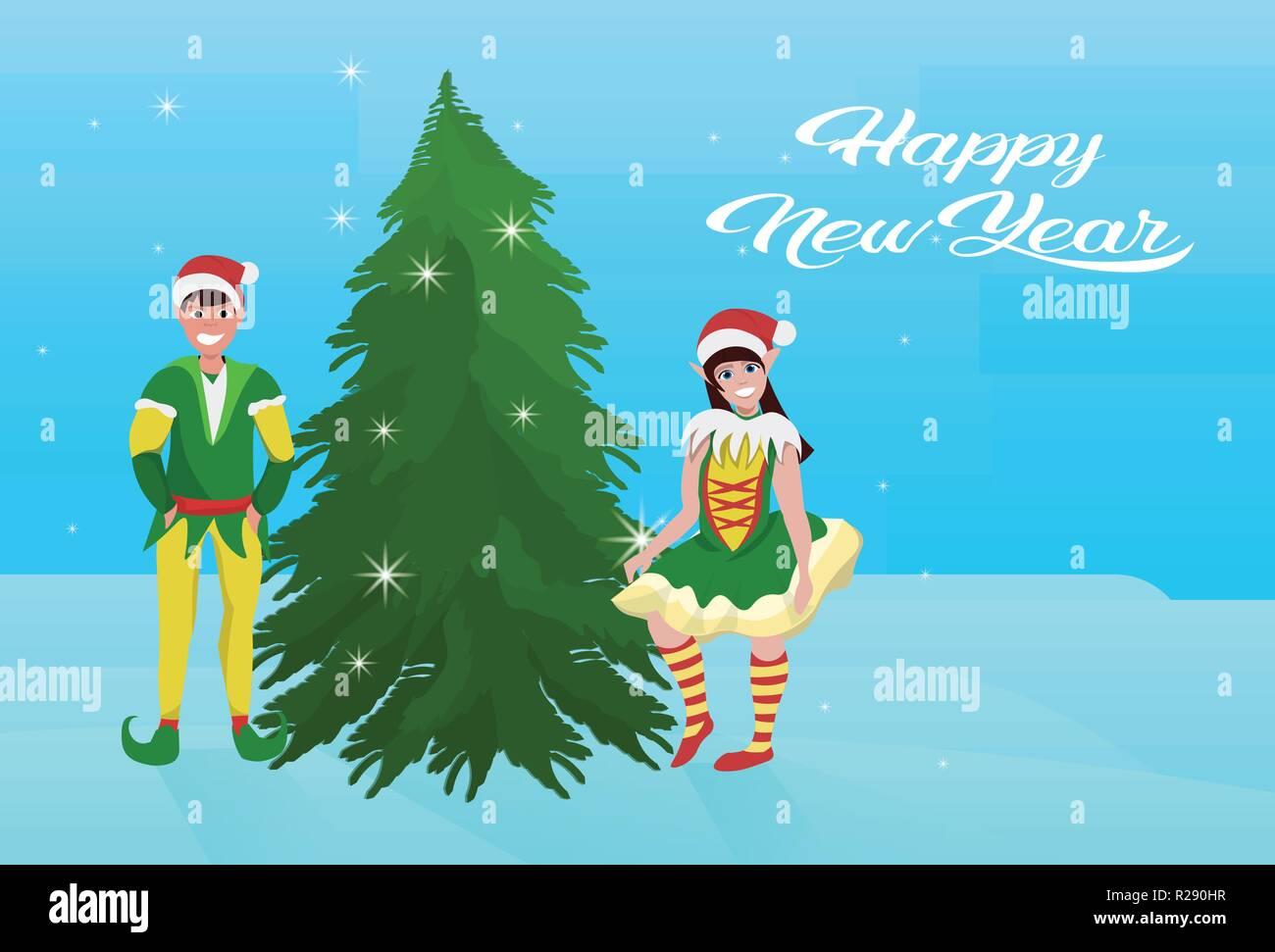 couple boy girl elf costume near fir tree happy new year merry christmas concept flat horizontal