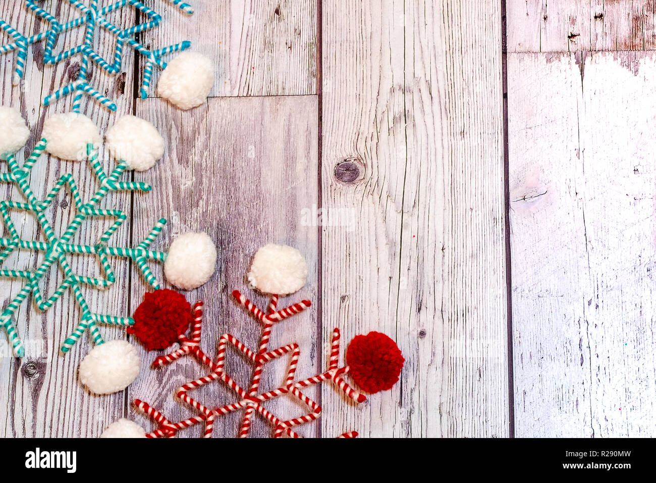 Pom Pom Twine Fabric Snowflakes In White Red And Teal
