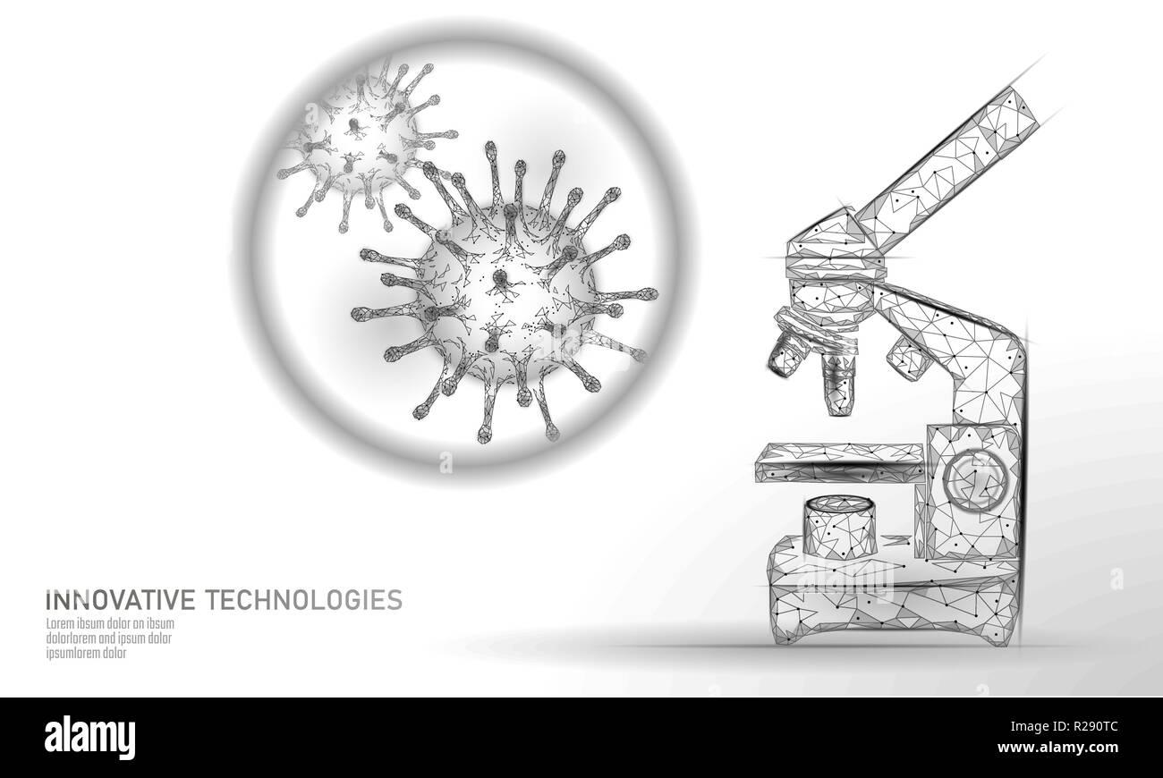 Microscope virus 3D low poly render. Laboratory analysis infection chronic disease Hepatitis virus influenza flu infect organism, aids. Modern science technology medicine thearment vector illustration - Stock Image