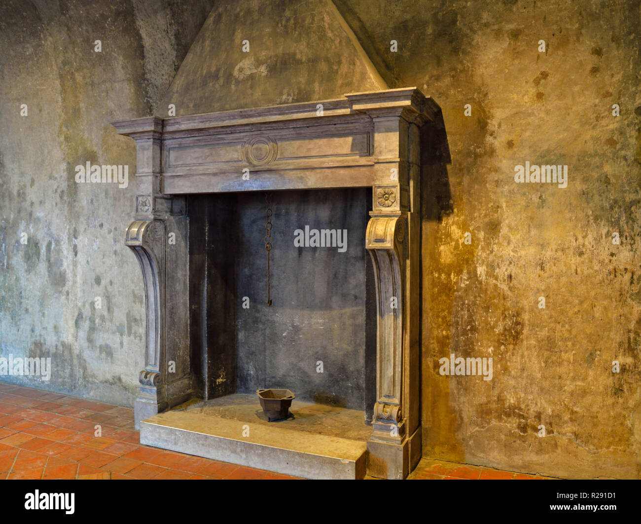 Medieval fireplace in Piemonte, Italy castles Stock Photo