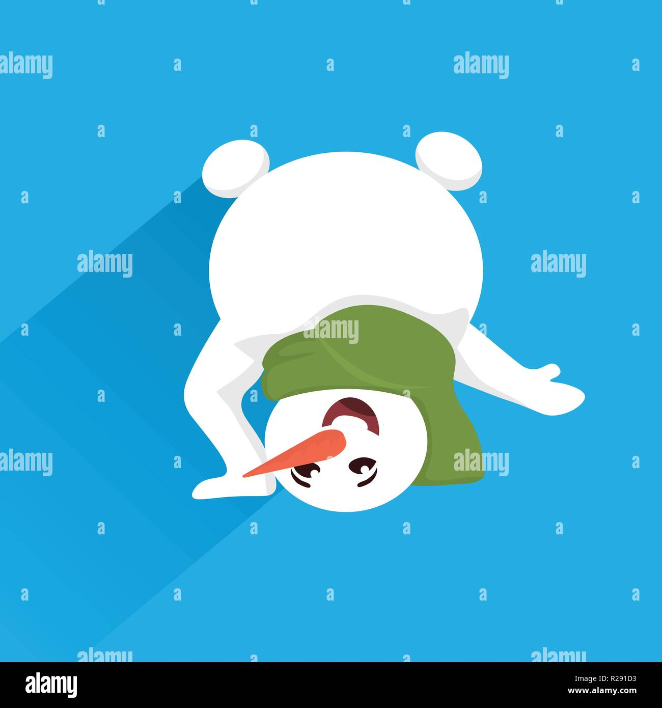 snowman standing upside down pose merry christmas happy new year holiday concept flat
