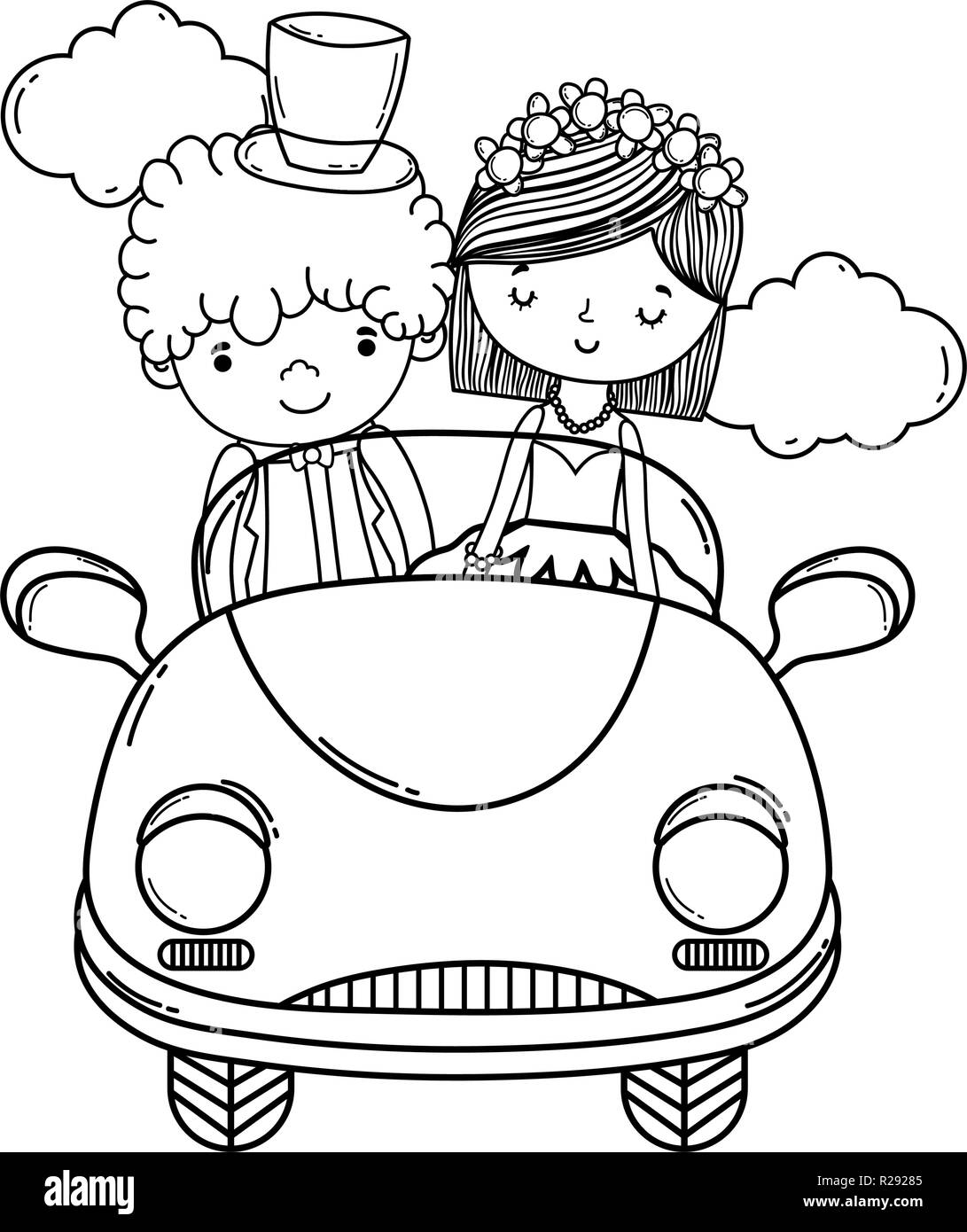 just married car bride groom black and white stock photos images British Cars 1950s wedding couple and car cute cartoon black and white stock image