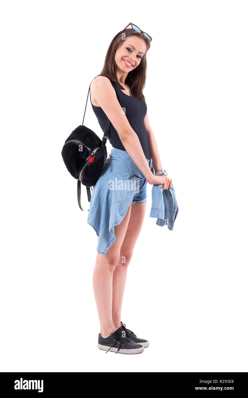 Lovely Young Stylish Woman With Plush Bag And Denim Jacket Tied