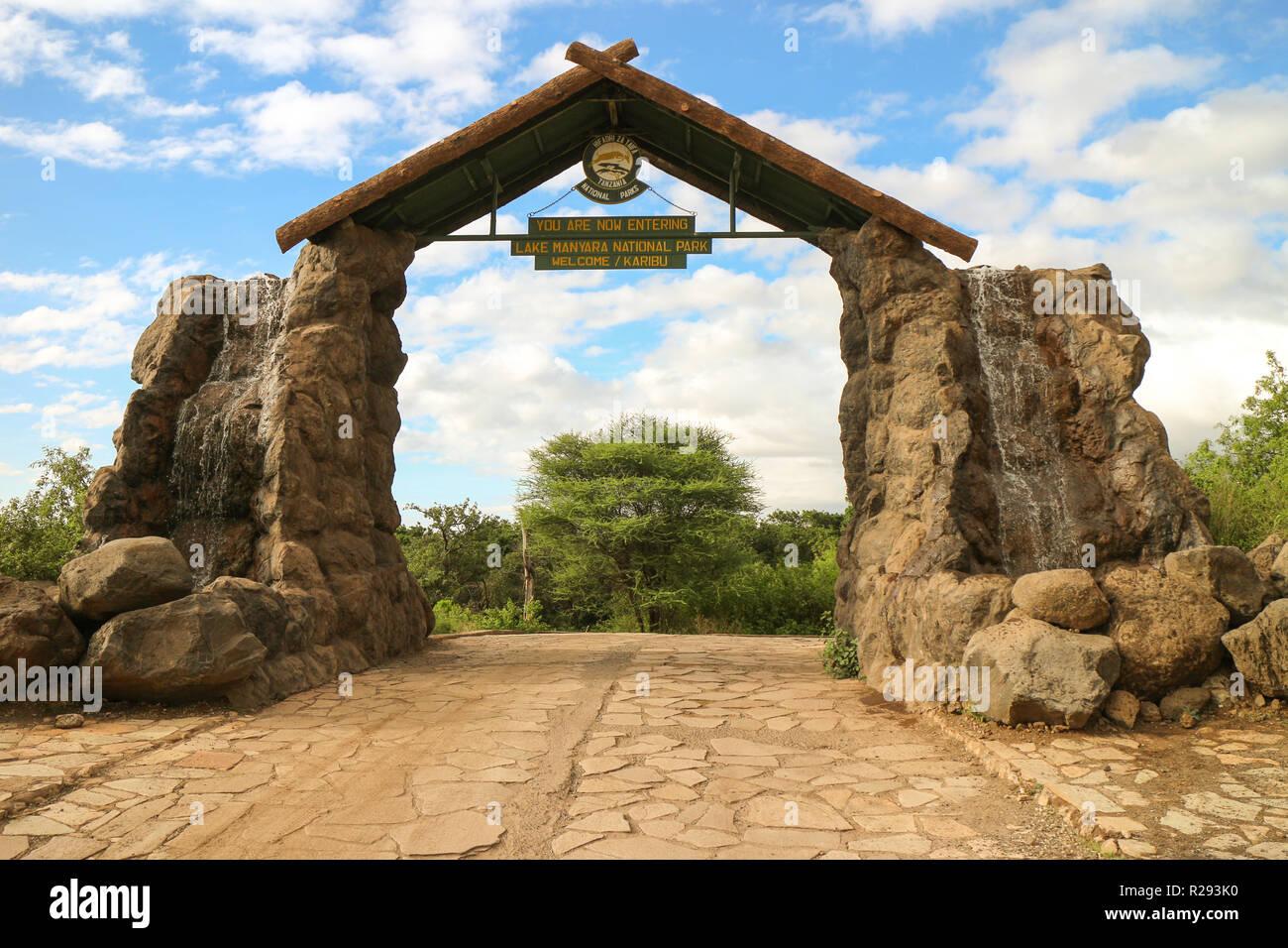 Entrance sign at Lake Manyara National Park in Tanzania. - Stock Image