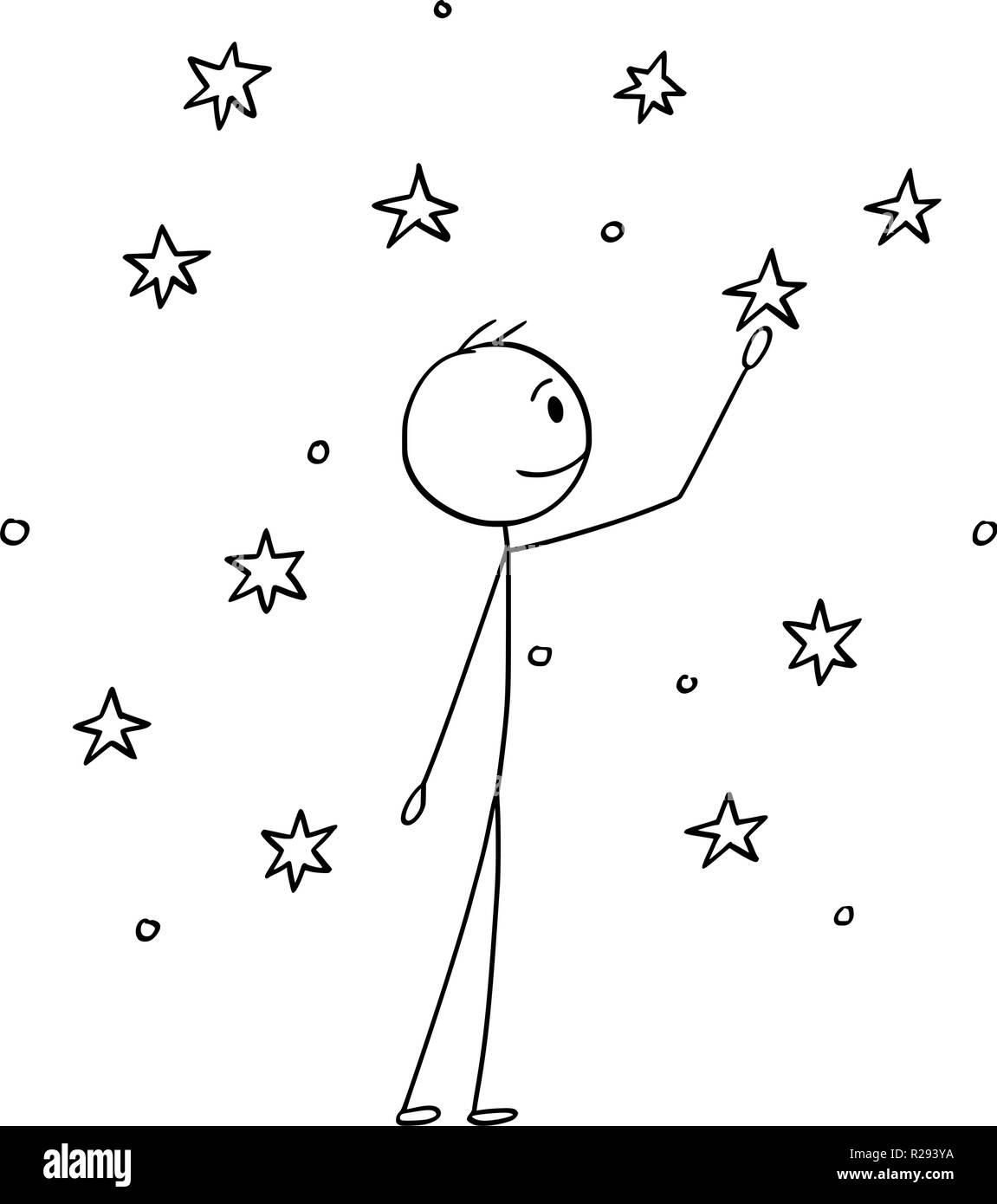 Cartoon of Man Touching Stars on the Sky - Stock Vector