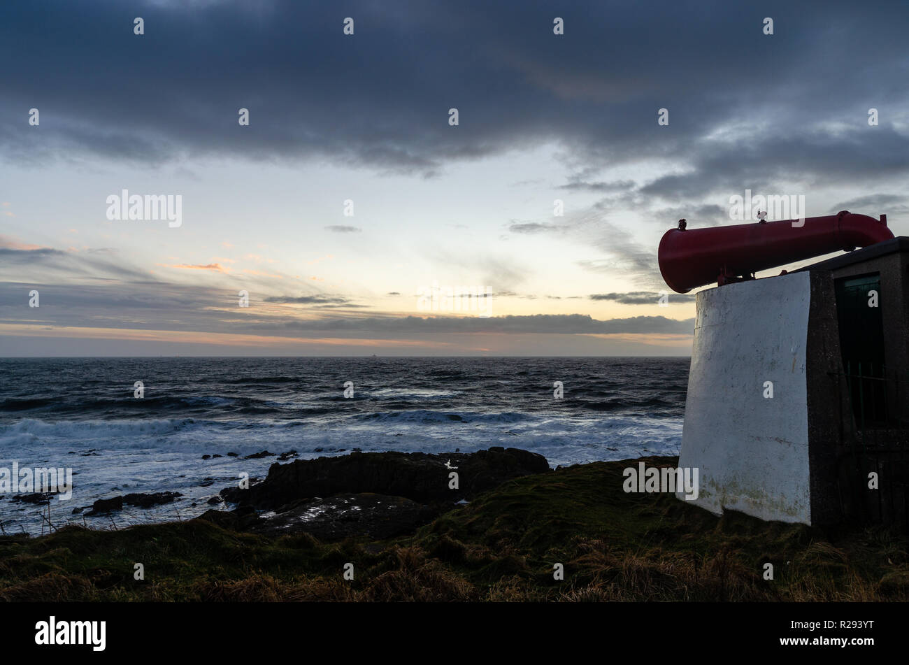 Fog horn on the coast outside Aberdeen in Scotland. - Stock Image